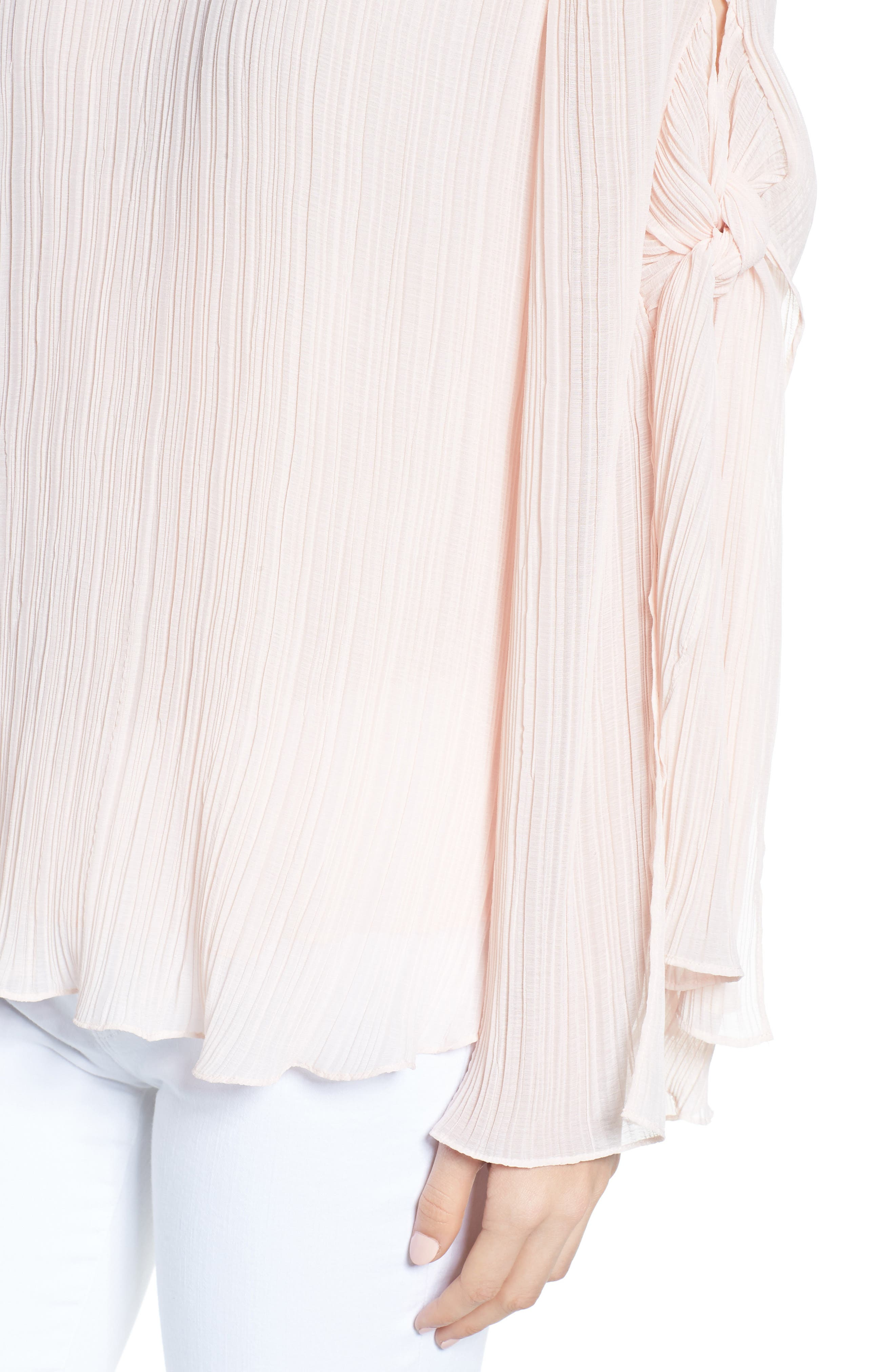 Pleated Tie Sleeve Top,                             Alternate thumbnail 4, color,                             Pink Blush