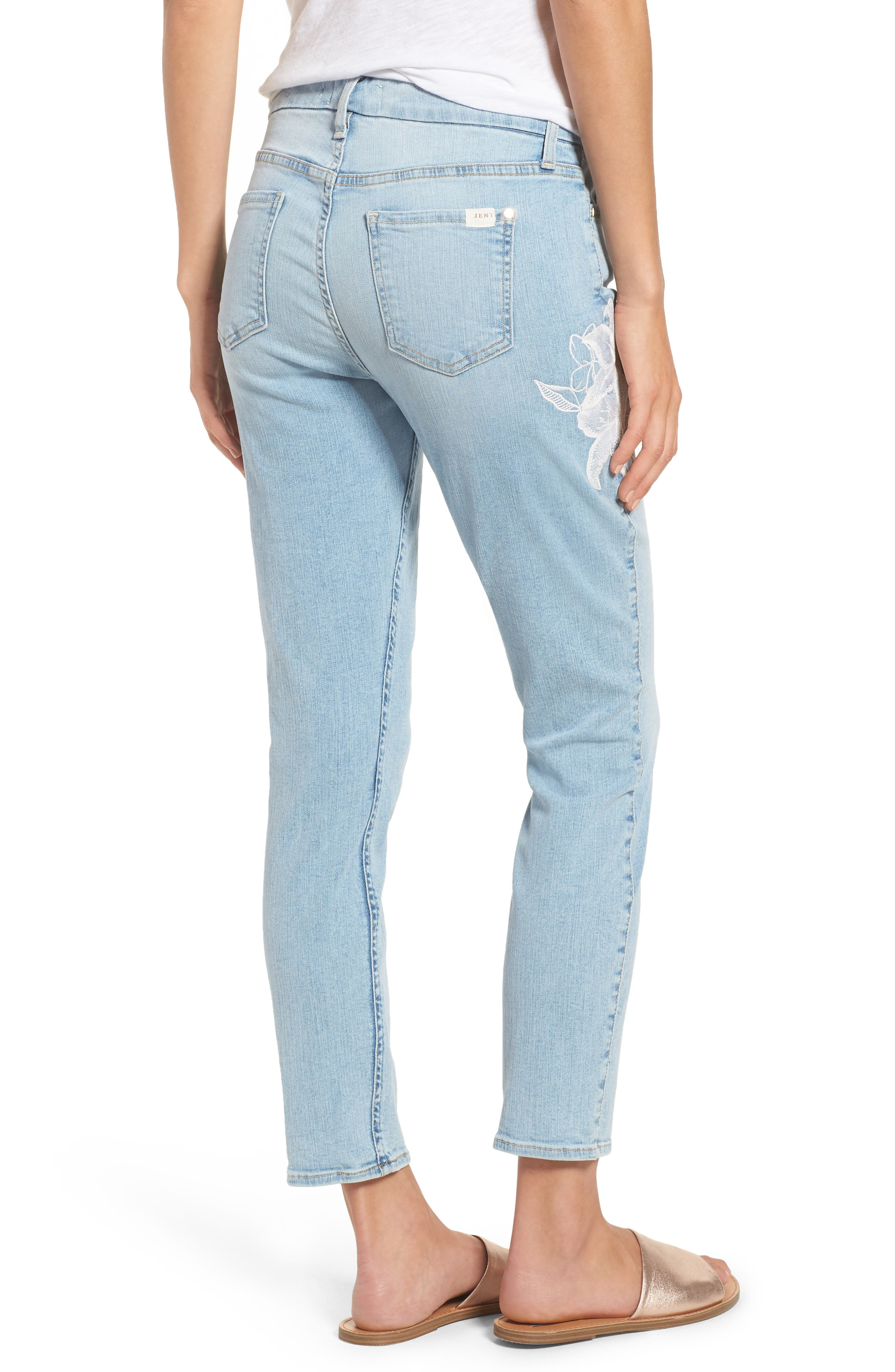 Jen 7 Embroidered Stretch Sklnny Ankle Jeans,                             Alternate thumbnail 2, color,                             Riche Touch Playa Vista