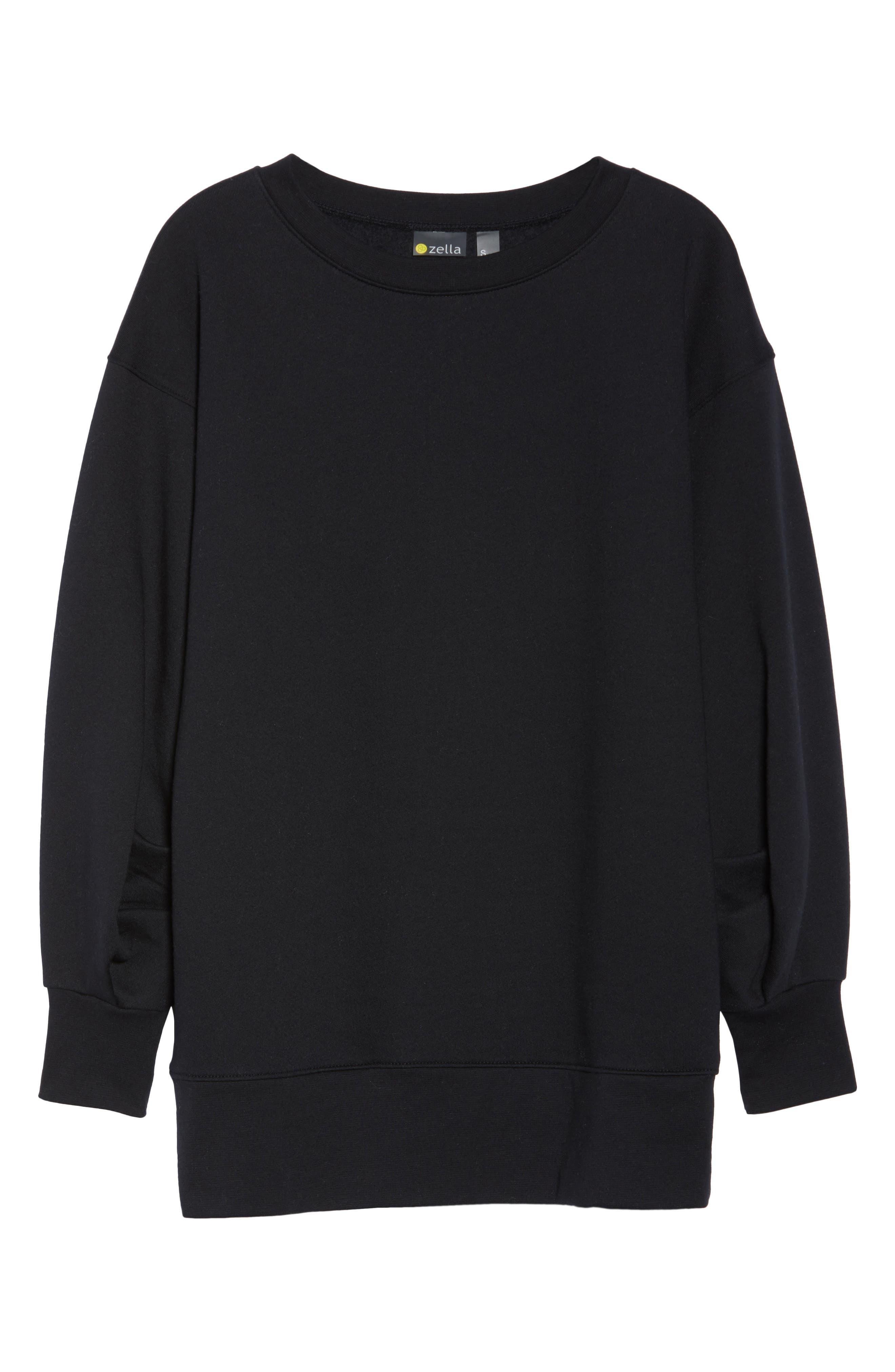 Boxy Oversize Sweatshirt,                             Alternate thumbnail 7, color,                             Black