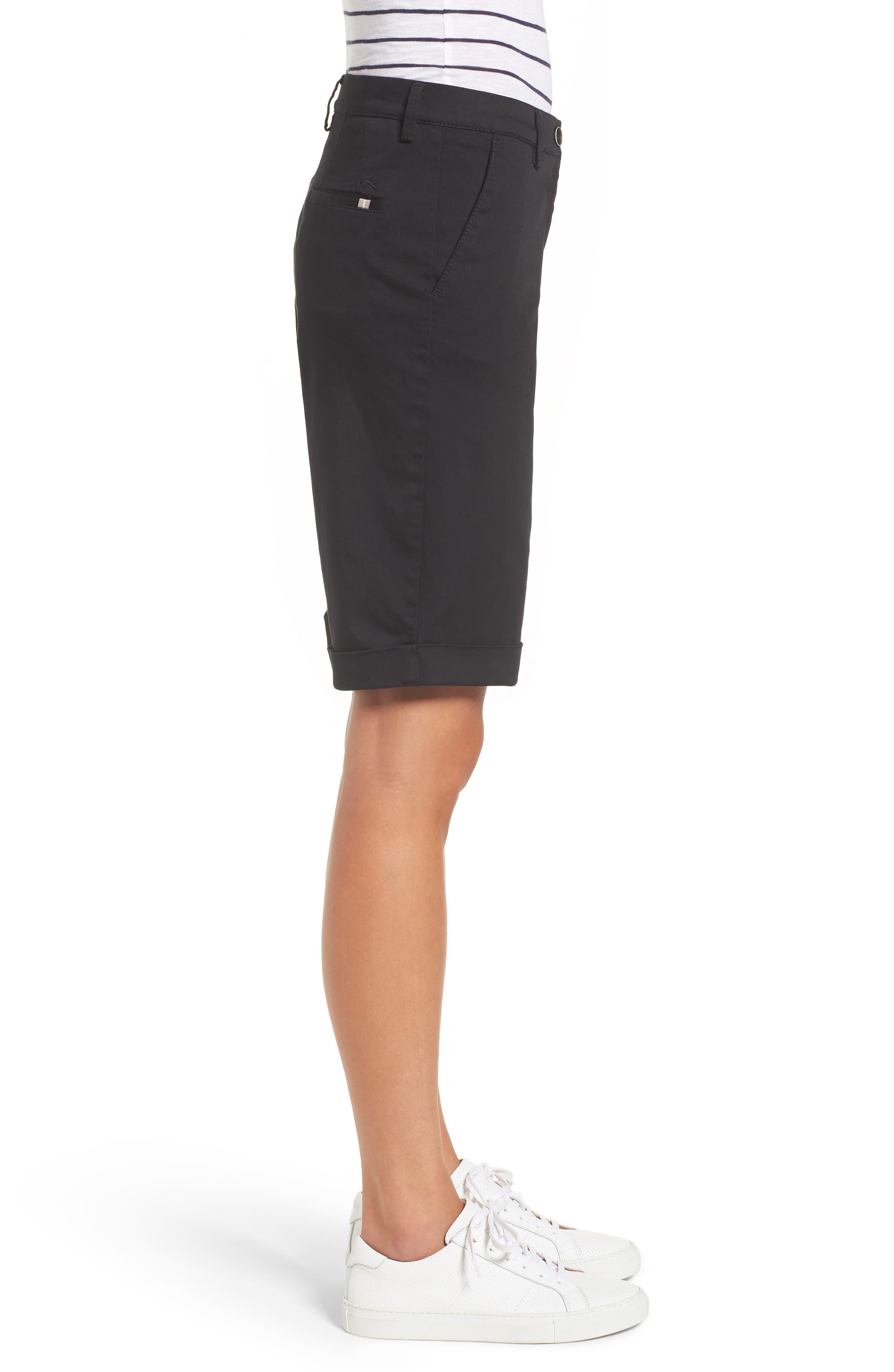 Stretch Cotton Cuff Bermuda Shorts,                             Alternate thumbnail 3, color,                             Perma Black