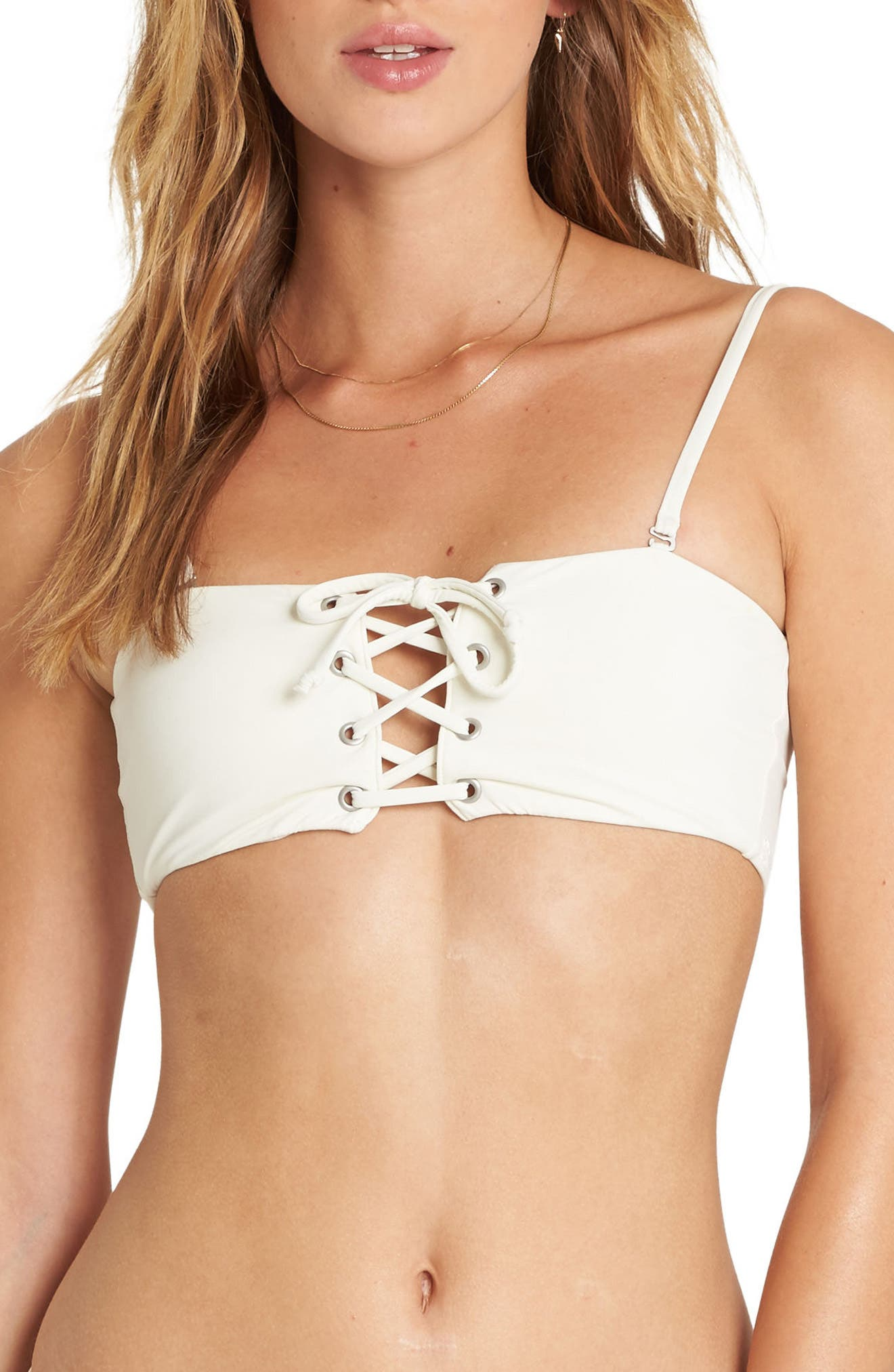 Sol Searcher Lace-Up Bandeau Bikini Top,                             Main thumbnail 1, color,                             Seashell