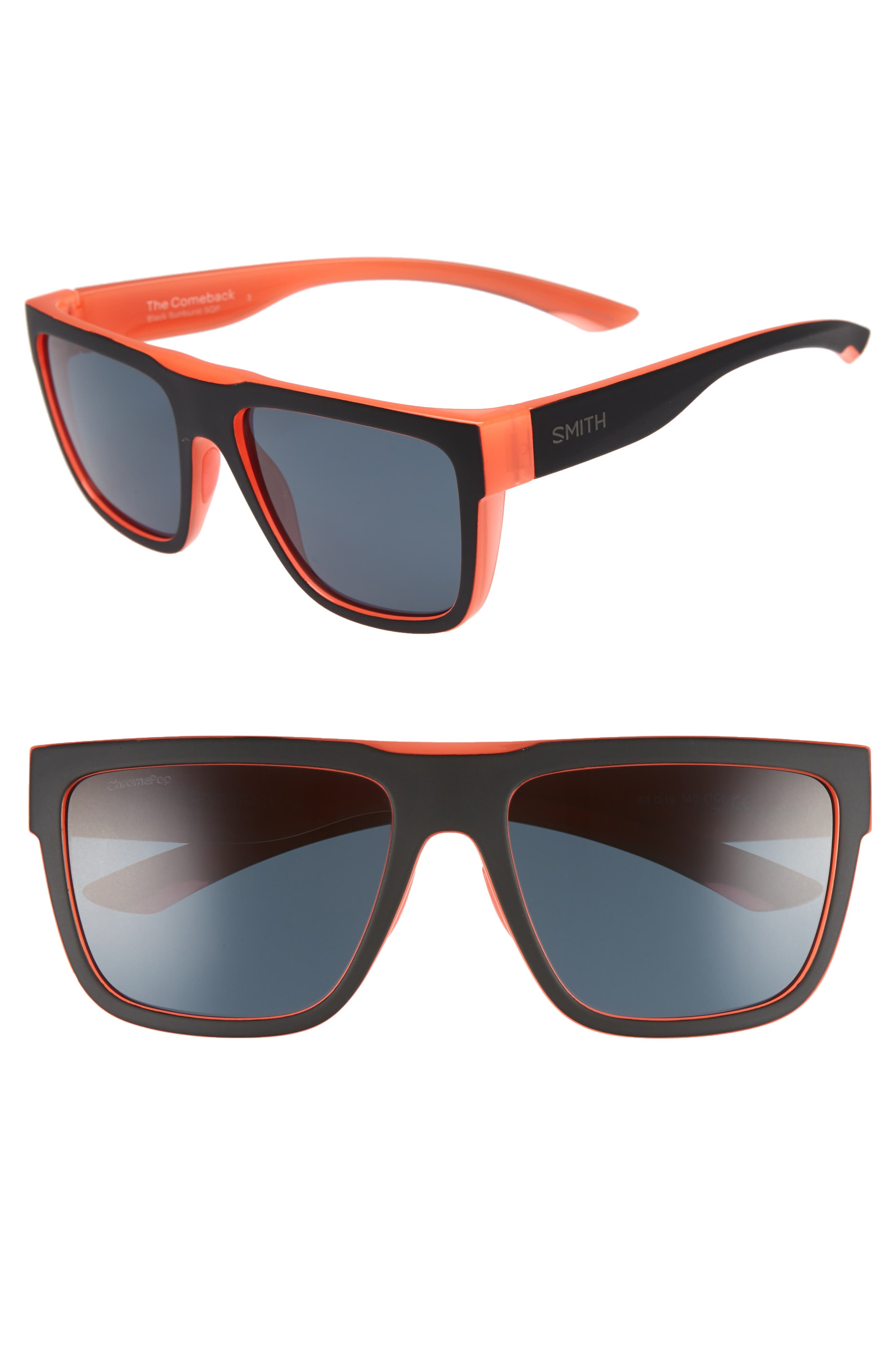 SMITH THE COMEBACK 58MM CHROMAPOP(TM) SQUARE SUNGLASSES - BLACK/ SUNBURST