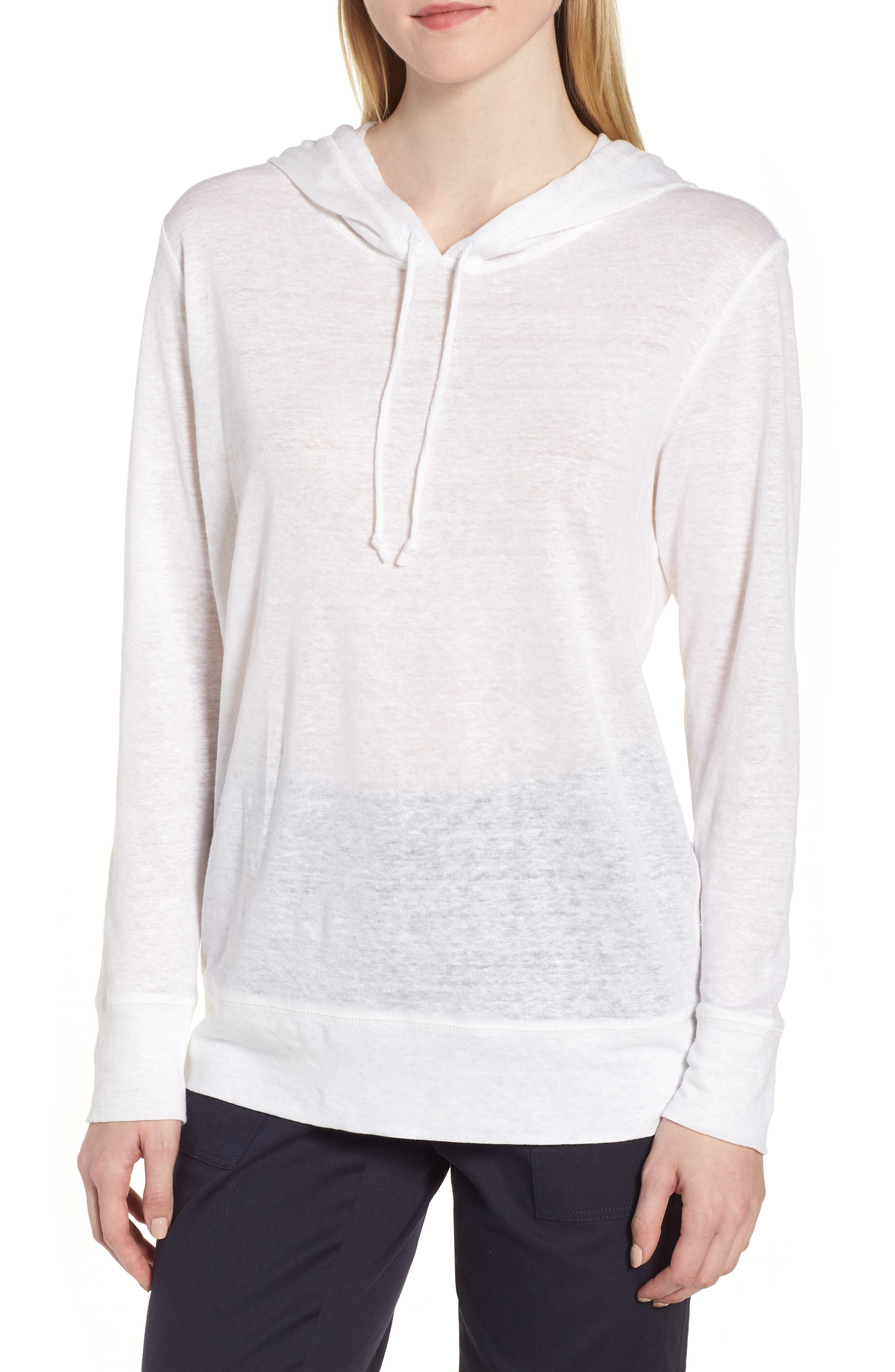 Knit Linen Hoodie,                         Main,                         color, White