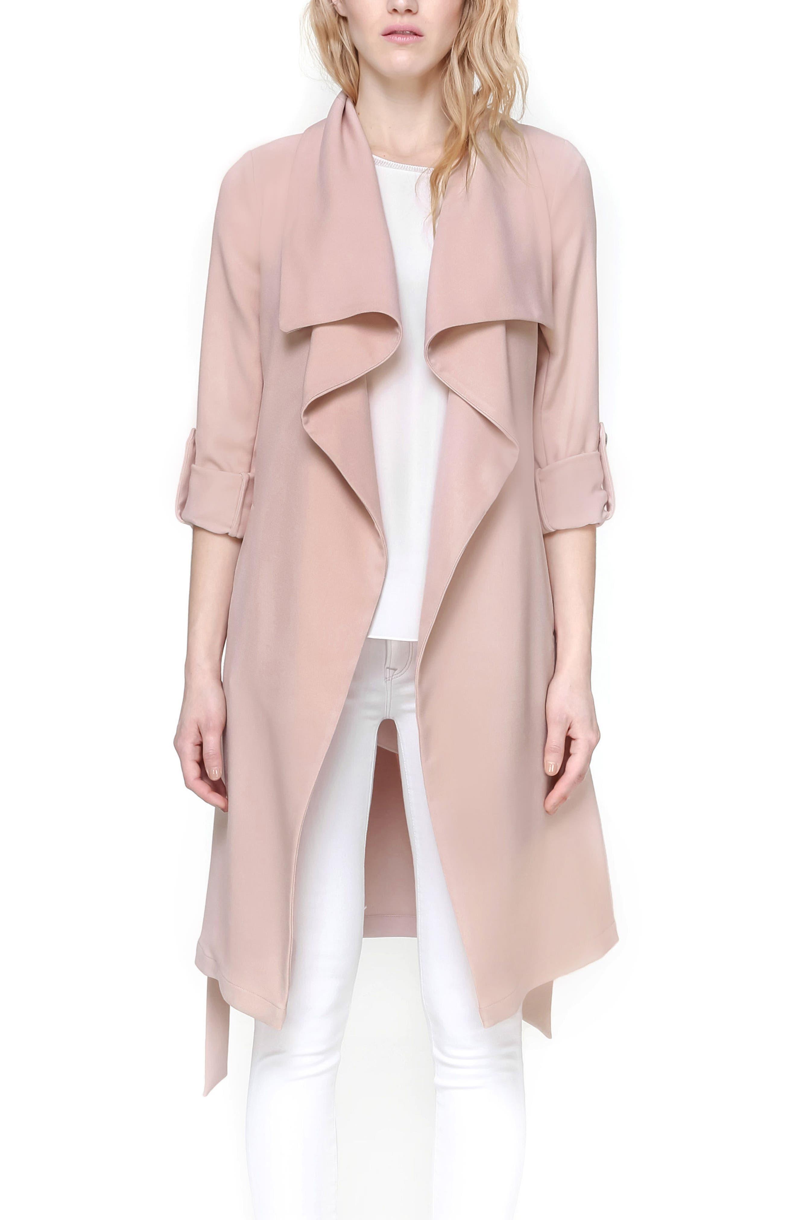 Roll Sleeve Drape Front Long Trench Coat,                             Alternate thumbnail 5, color,                             Blush
