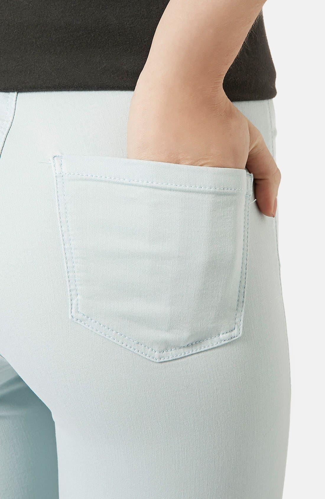 Alternate Image 4  - Topshop Moto 'Joni' High Rise Jeans (Light Blue) (Regular & Short)