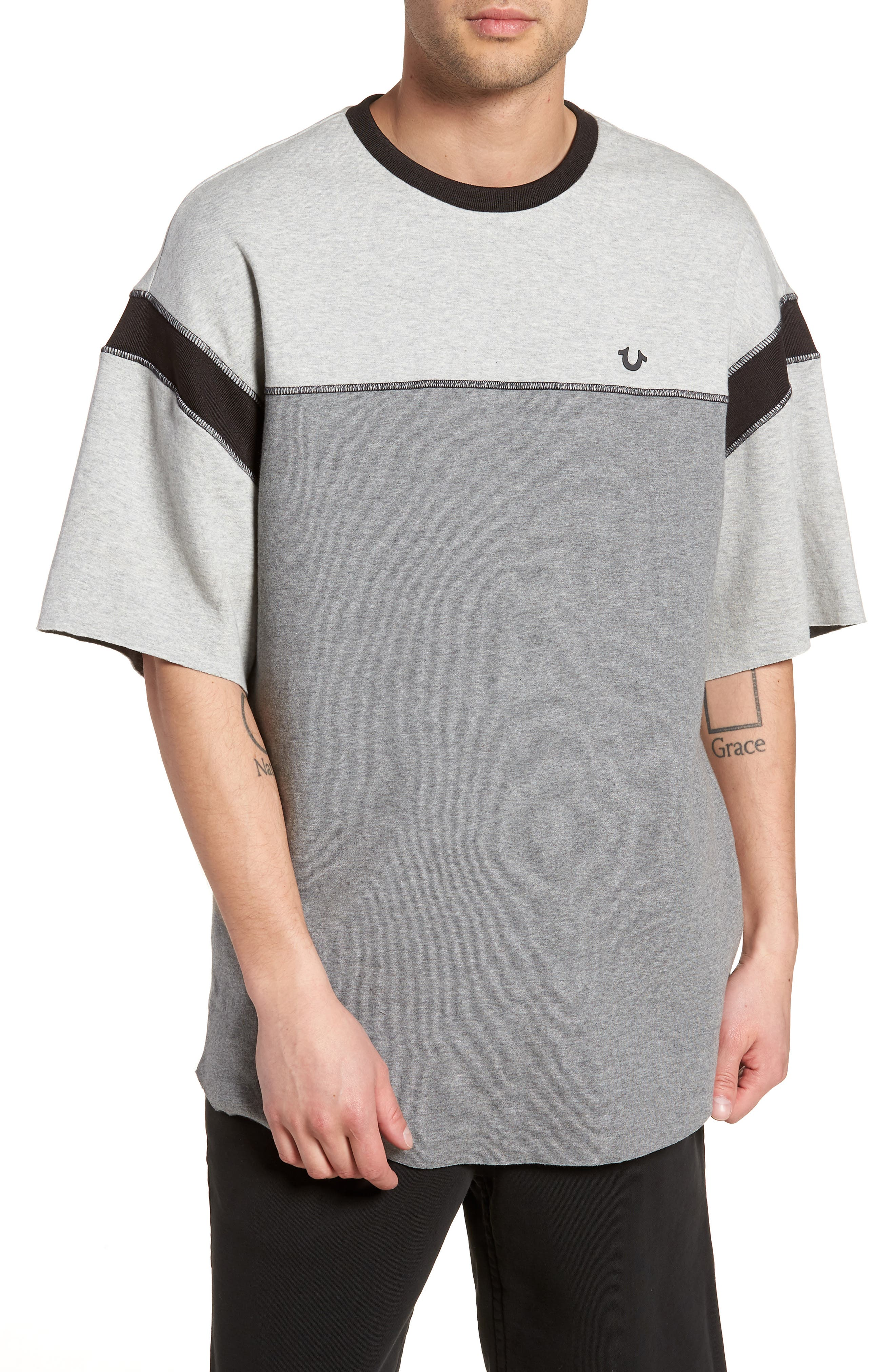 Football T-Shirt,                         Main,                         color, Heather Grey