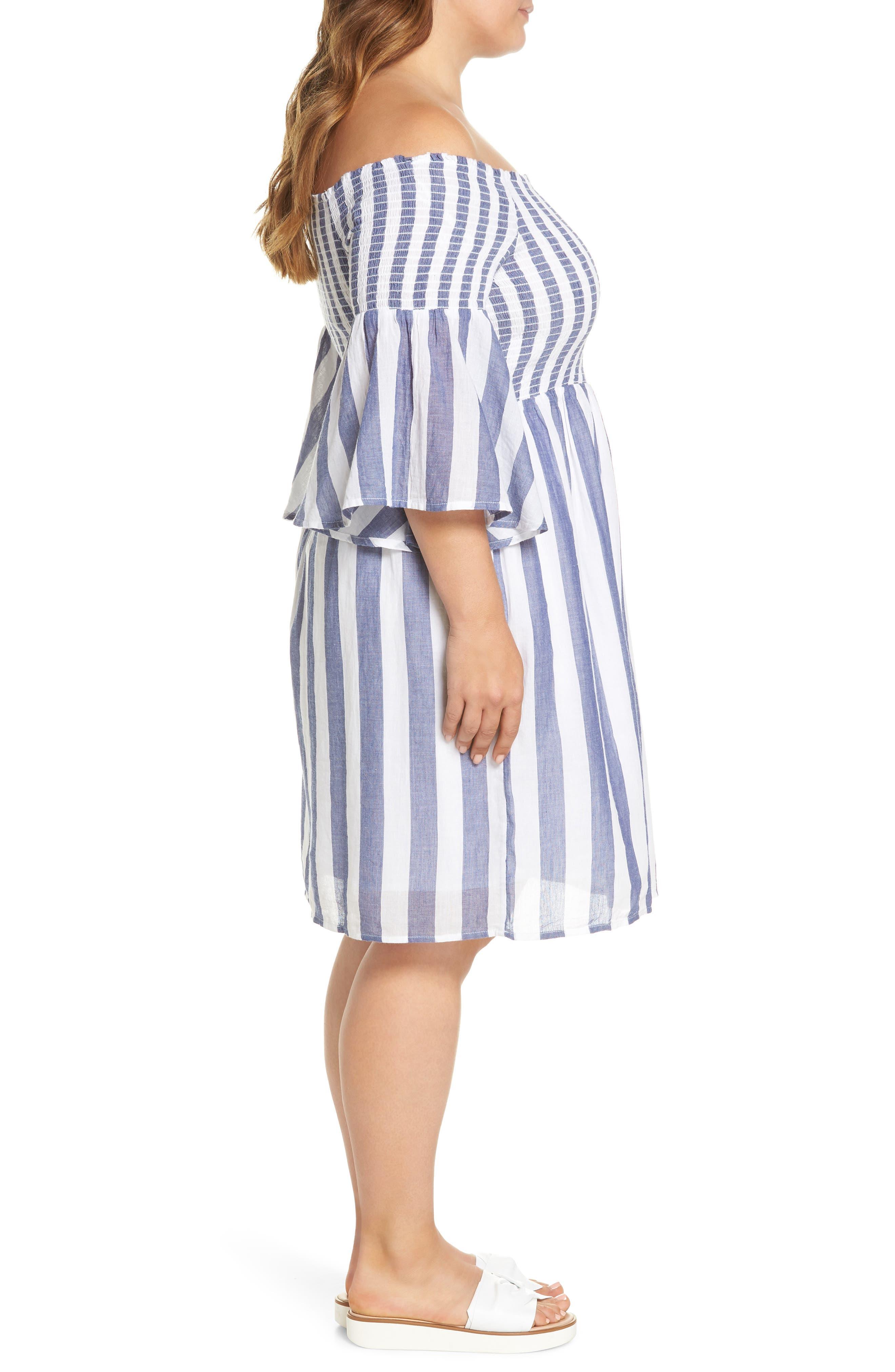 Off the Shoulder Stripe Smocked Dress,                             Alternate thumbnail 3, color,                             Blue Multi