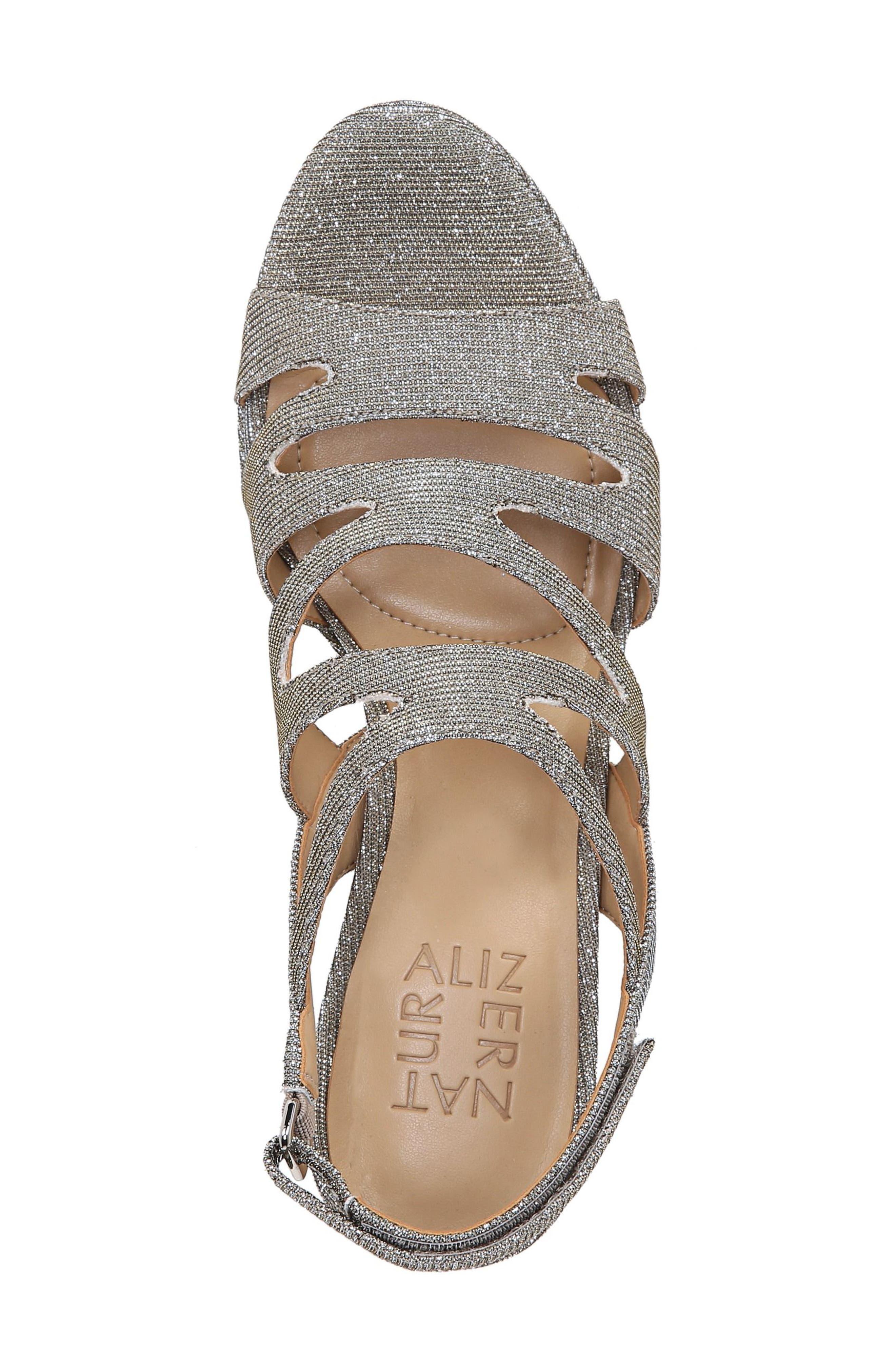'Pressley' Slingback Platform Sandal,                             Alternate thumbnail 5, color,                             Alloy Sparkle Fabric