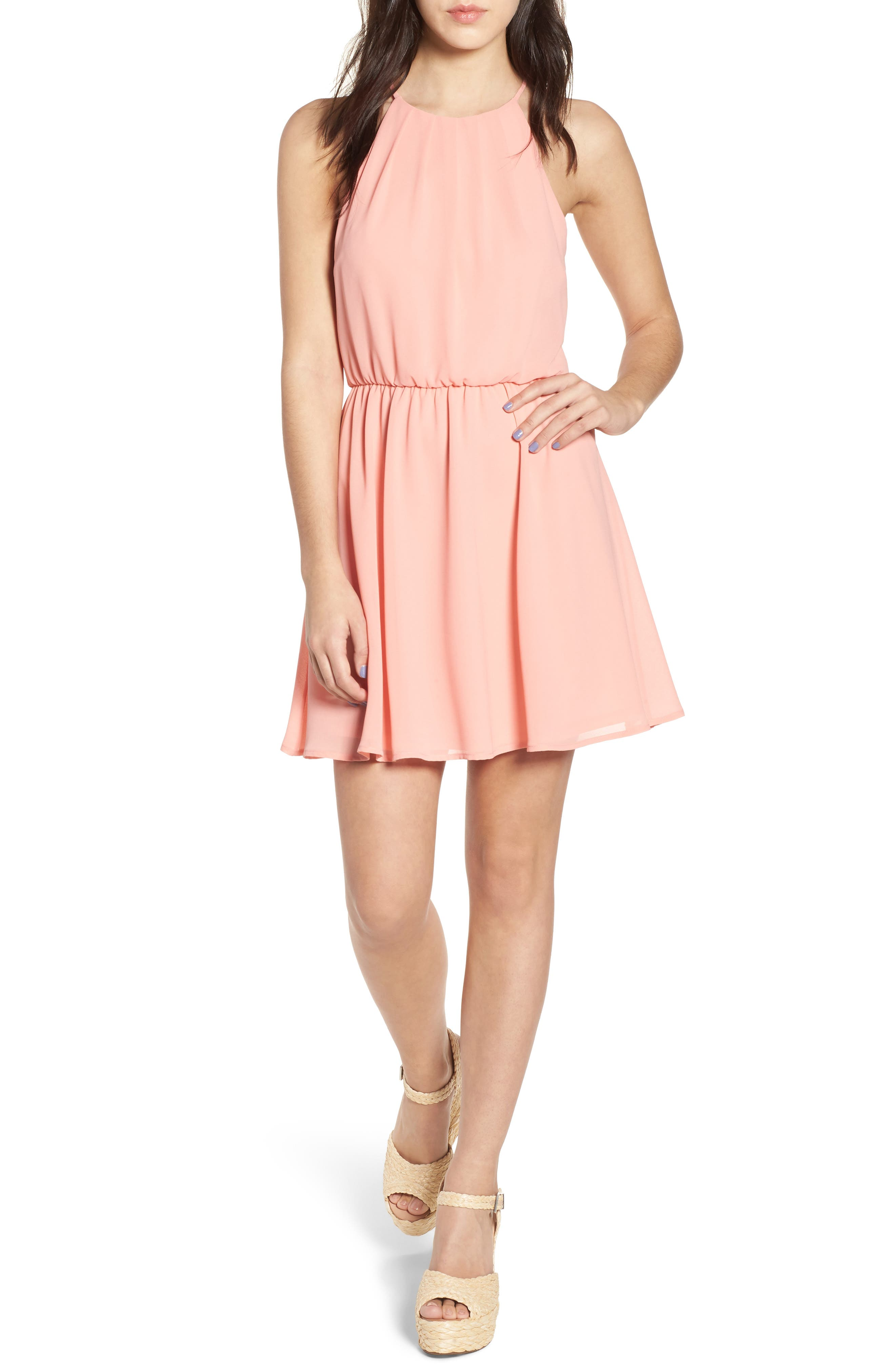 Blouson Chiffon Skater Dress,                             Main thumbnail 1, color,                             Peach