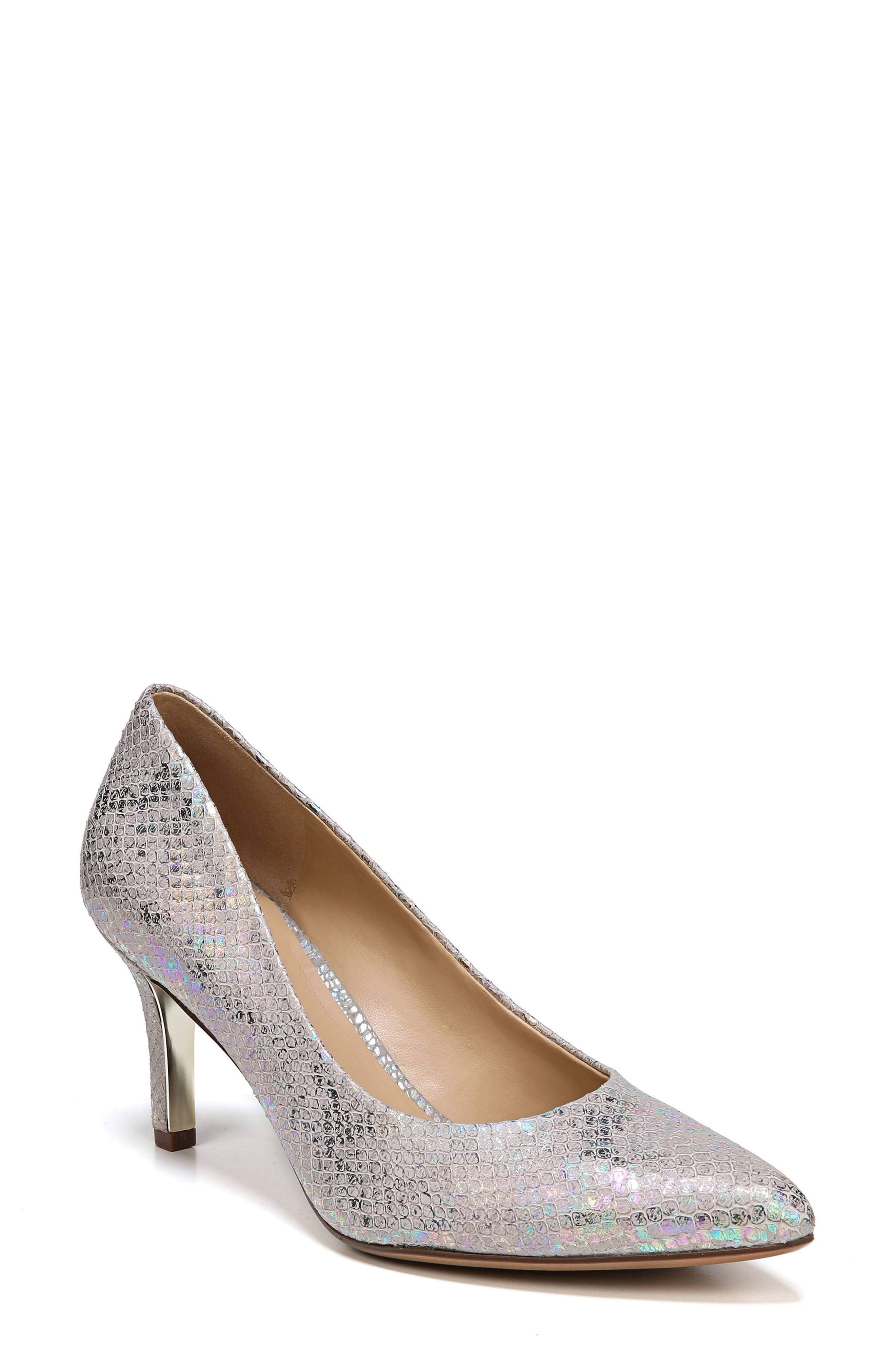 Natalie Pointy Toe Pump,                             Main thumbnail 1, color,                             Silver Snake Print Leather