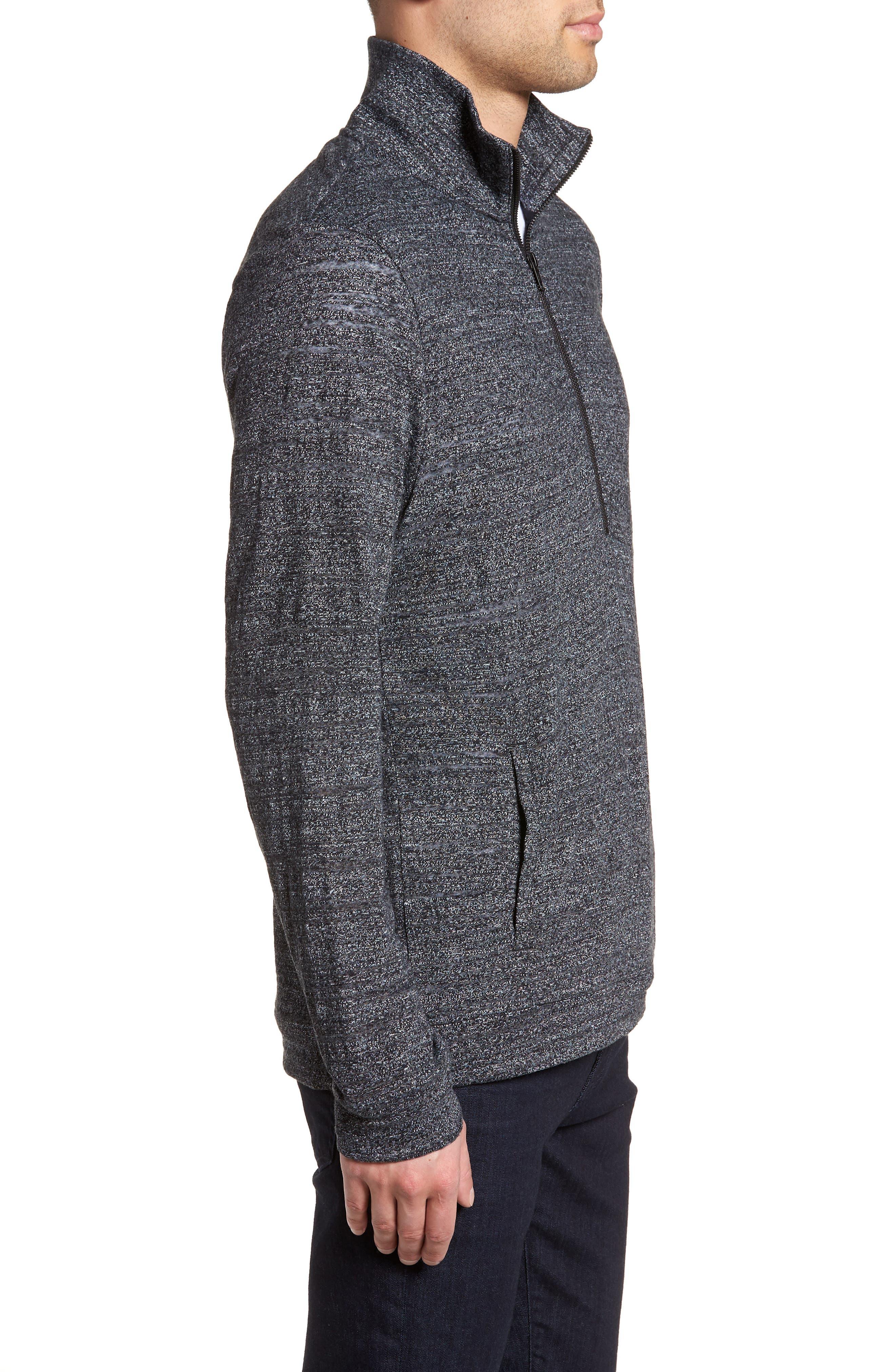 Textured Zip Fleece Sweatshirt,                             Alternate thumbnail 3, color,                             Black Melange