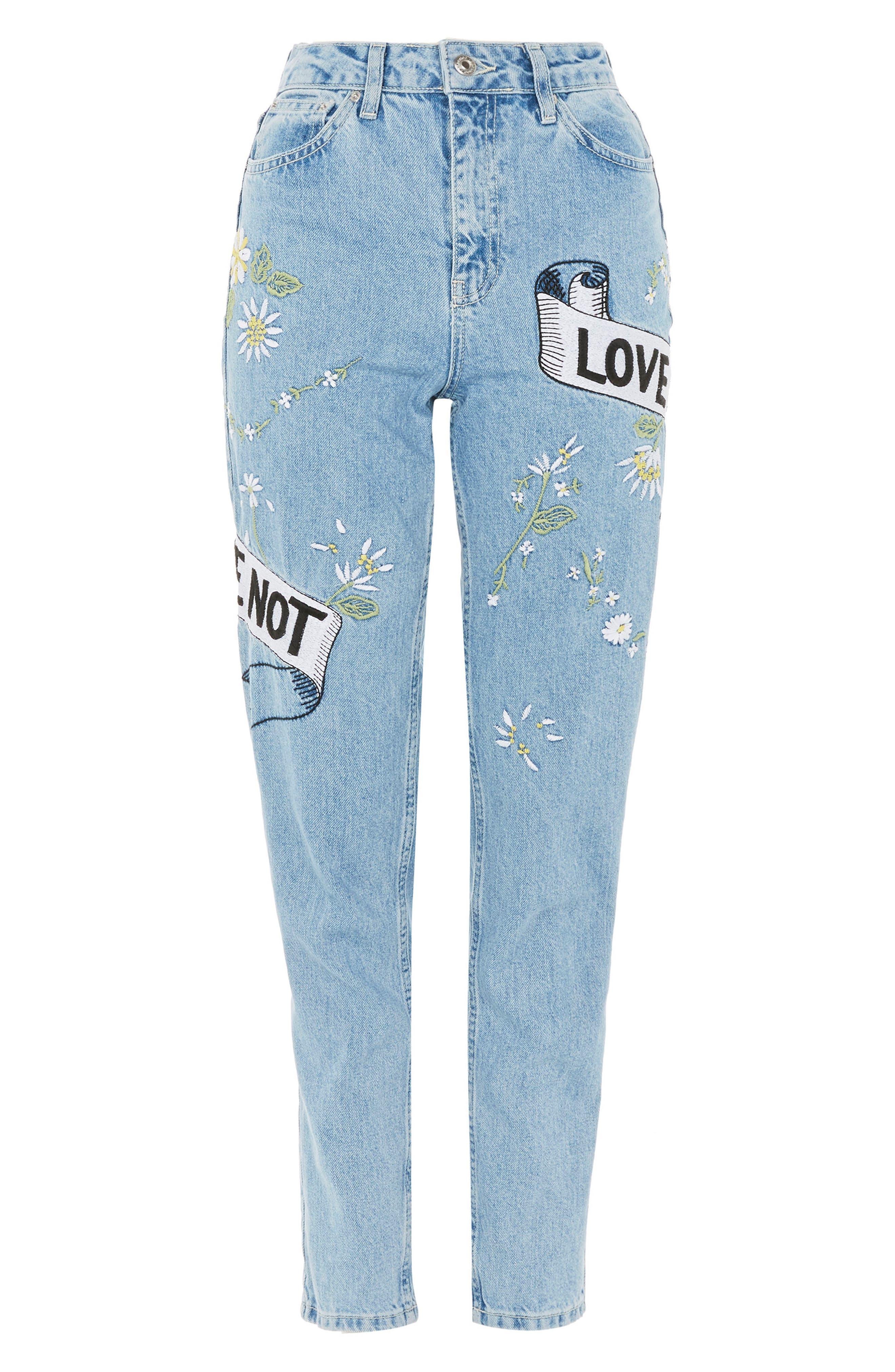 Love Me Bleach Mom Jeans,                             Alternate thumbnail 5, color,                             Light Blue
