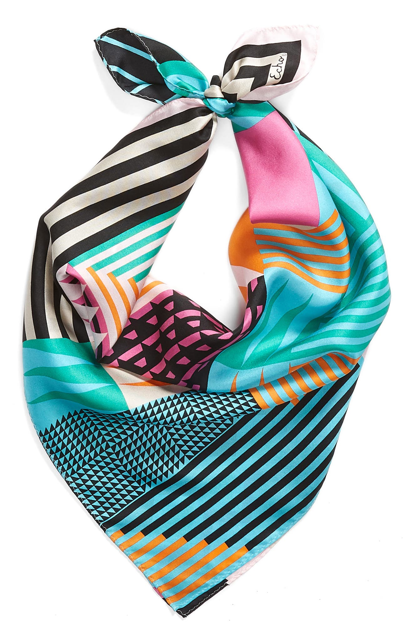 Tassie Square Silk Scarf,                             Alternate thumbnail 2, color,                             Blue/Green Multi