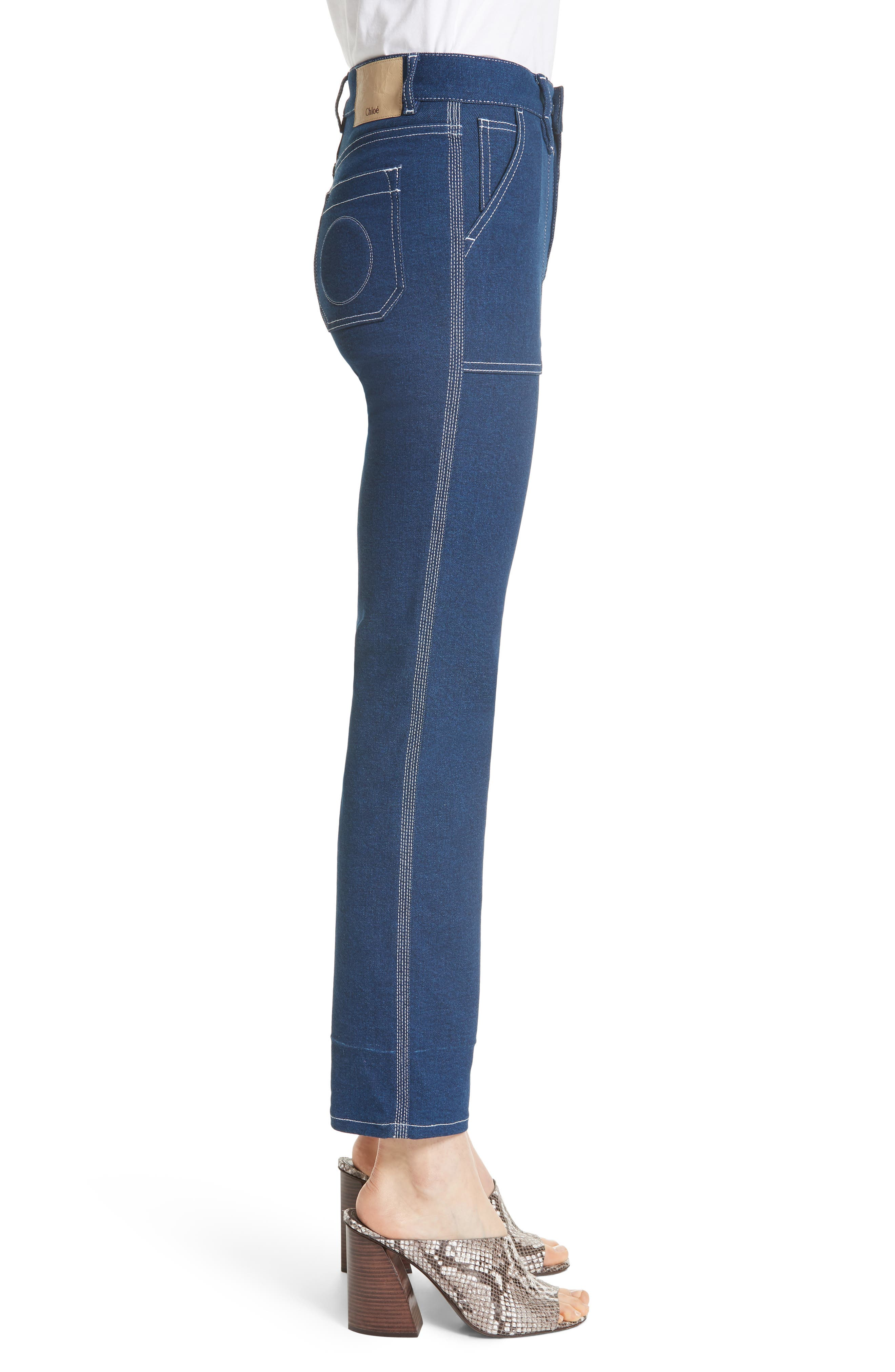 Contrast Circle Stitch Jeans,                             Alternate thumbnail 3, color,                             Ultramarine