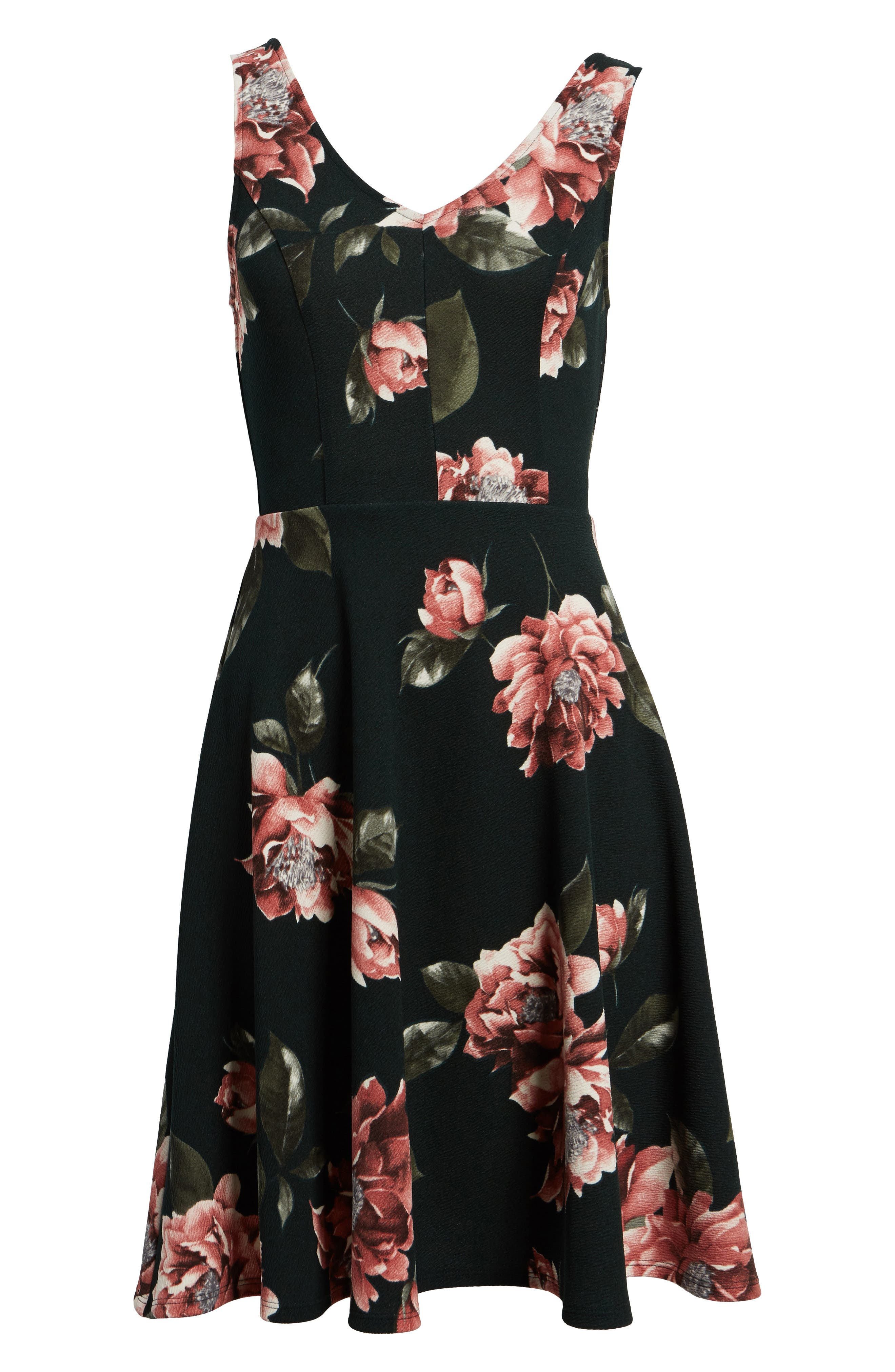 Floral Print Fit & Flare Dress,                             Alternate thumbnail 6, color,                             Pine