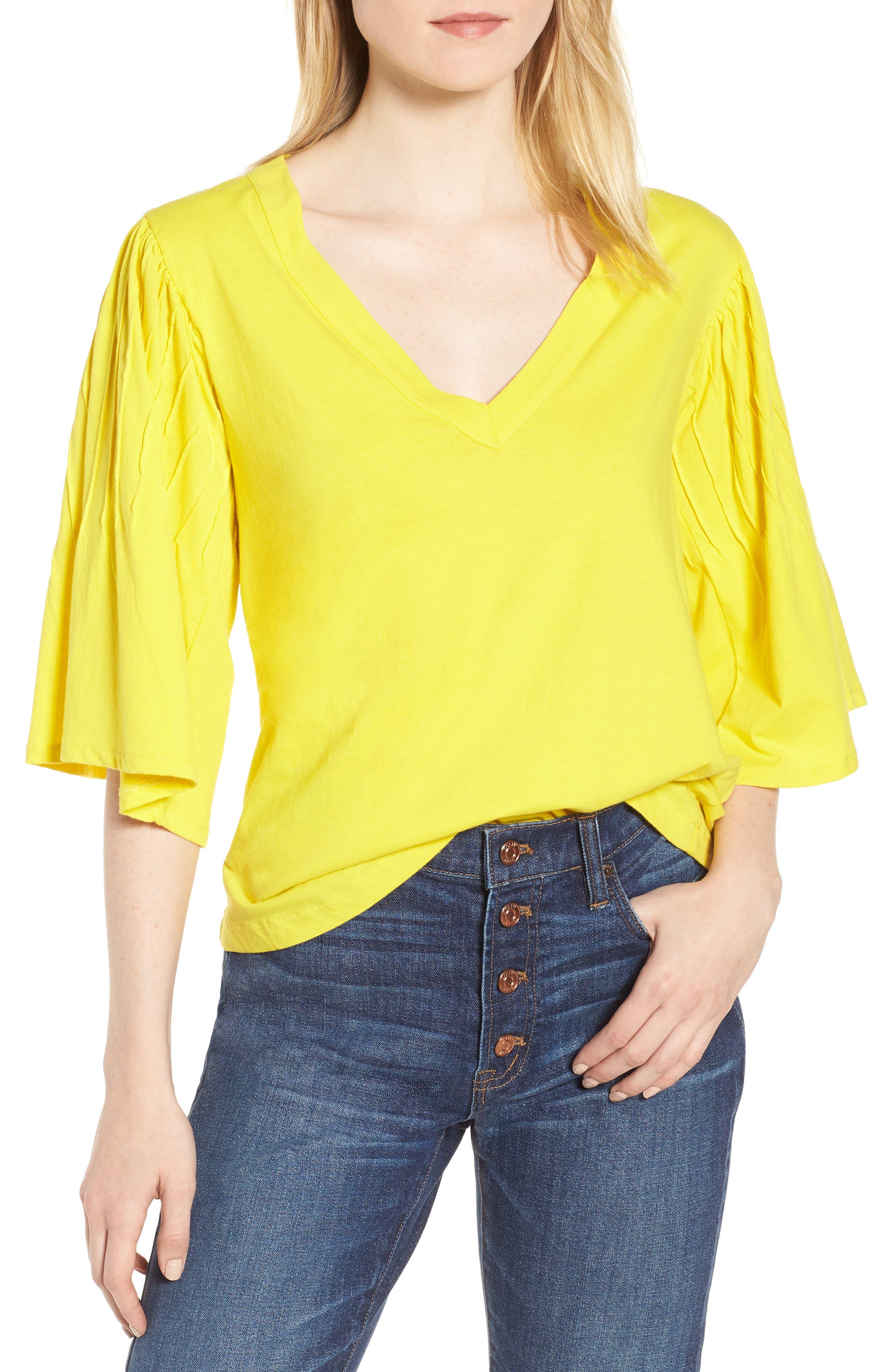 Pintuck Sleeve Cotton Blouse,                             Main thumbnail 1, color,                             Vivid Canary