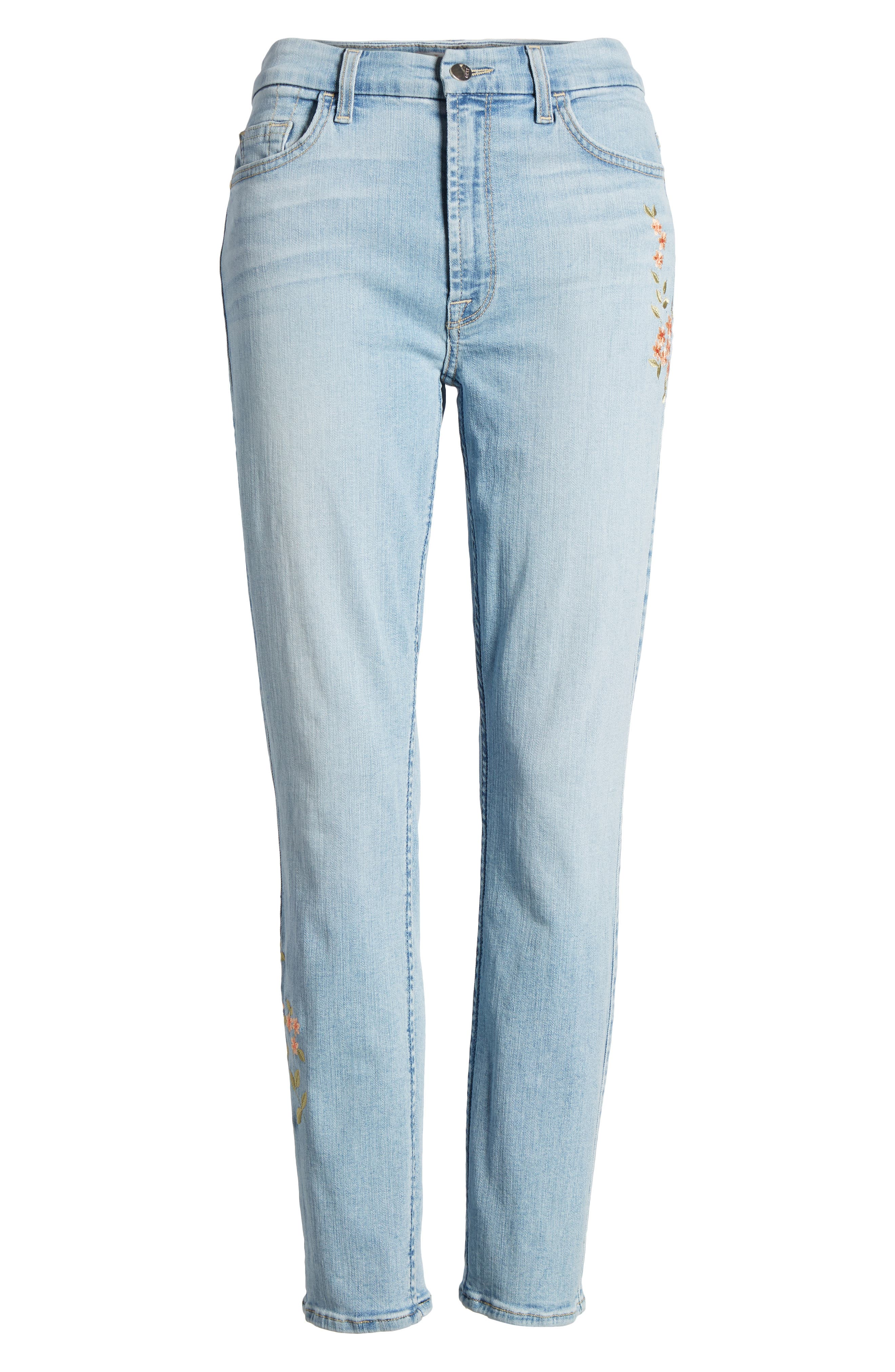 Embroidered Slim Boyfriend Jeans,                             Alternate thumbnail 7, color,                             Riche Touch Playa Vista