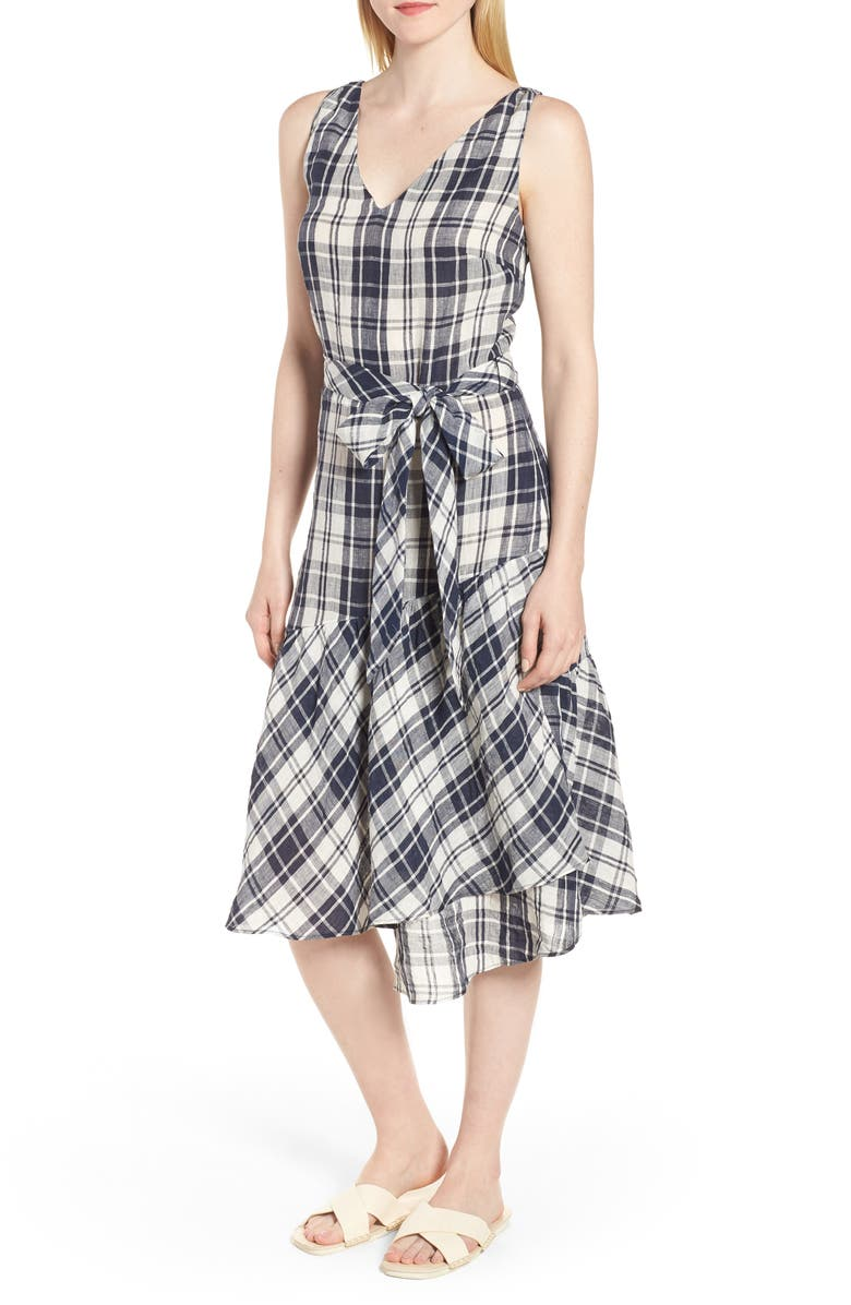 Faux Wrap Plaid Dress