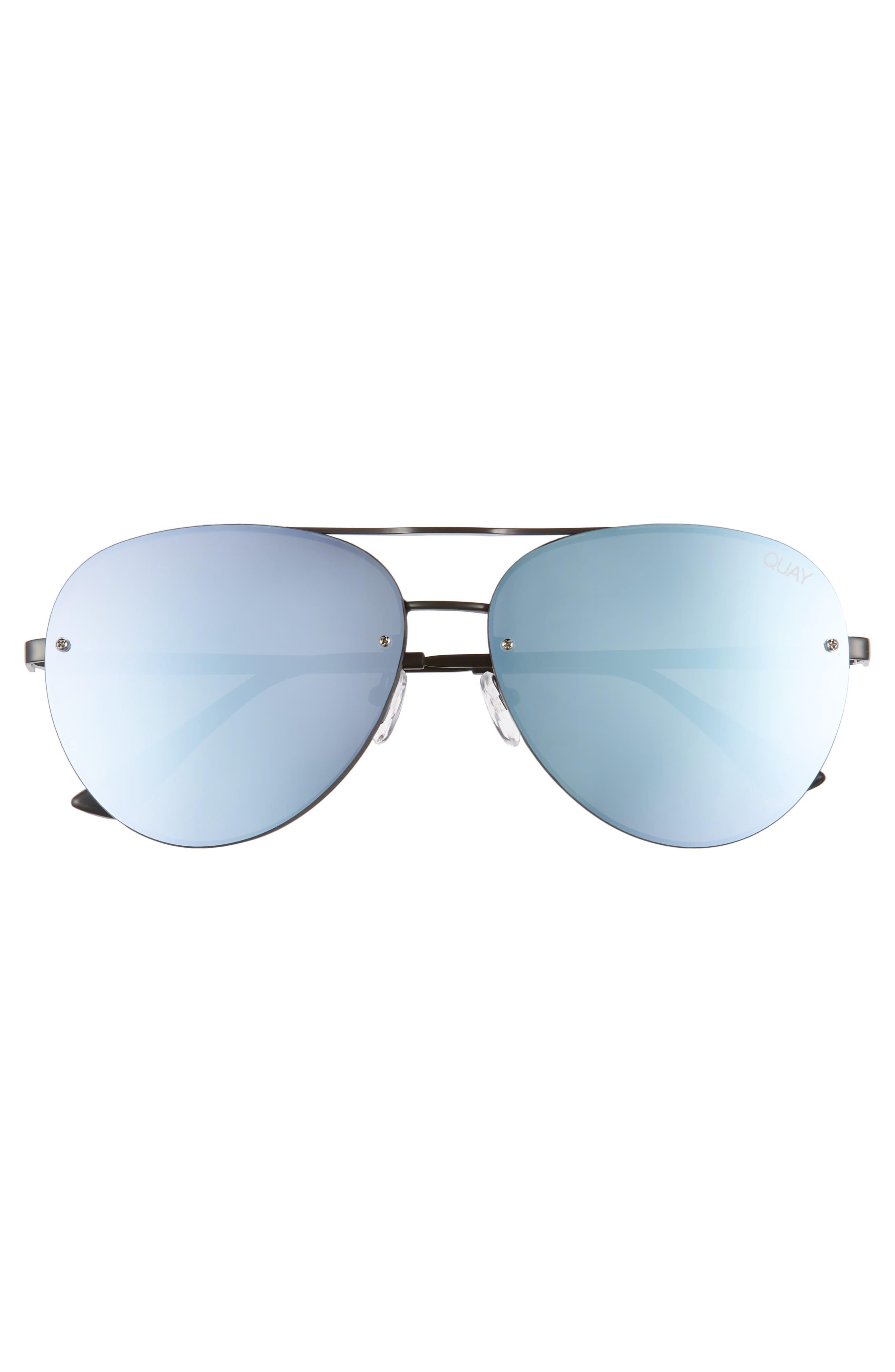 x Missguided Cool Innit 56mm Aviator Sunglasses,                             Alternate thumbnail 4, color,                             Black/Purple