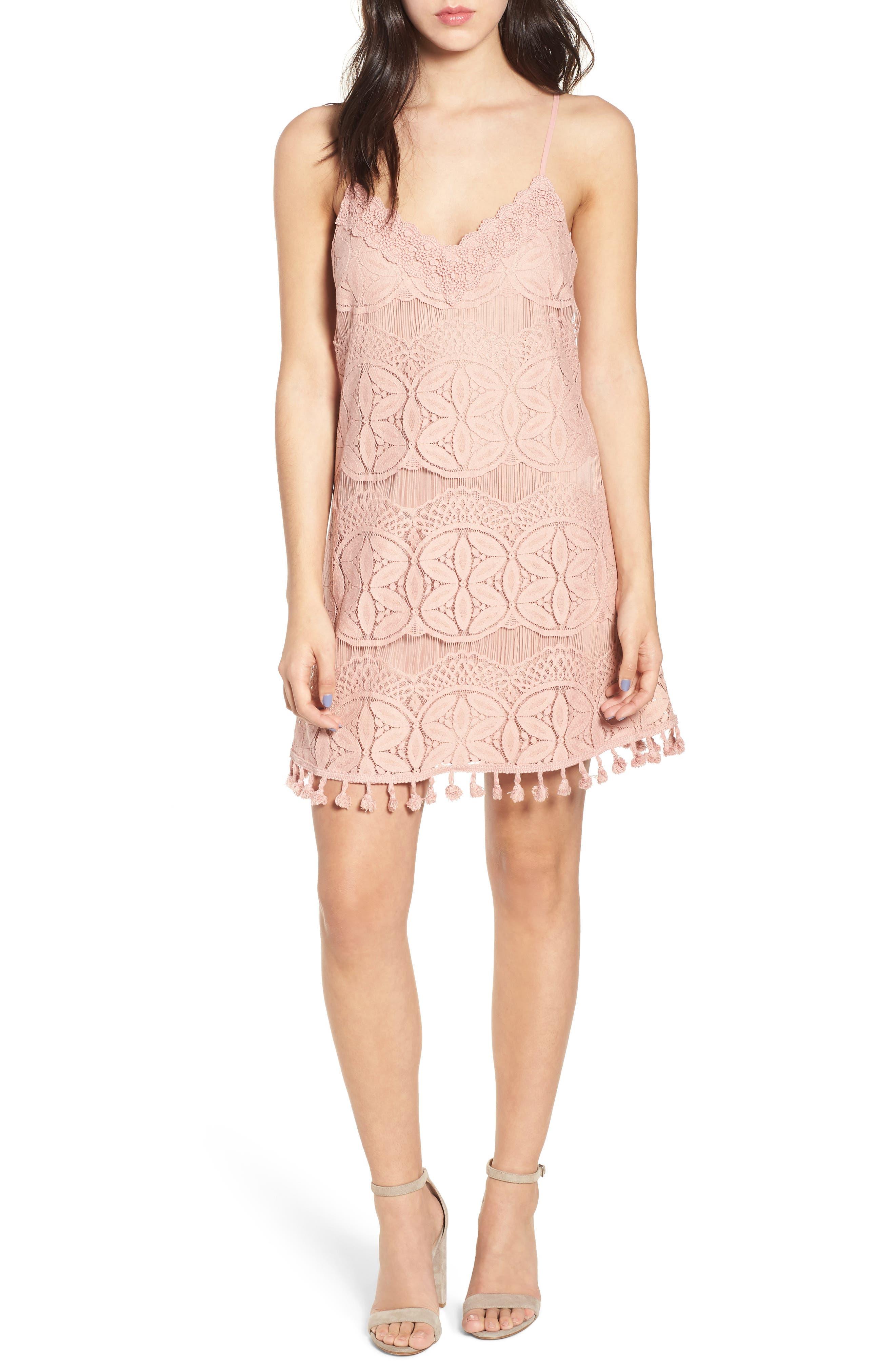Speechless Pom Trim Lace Minidress