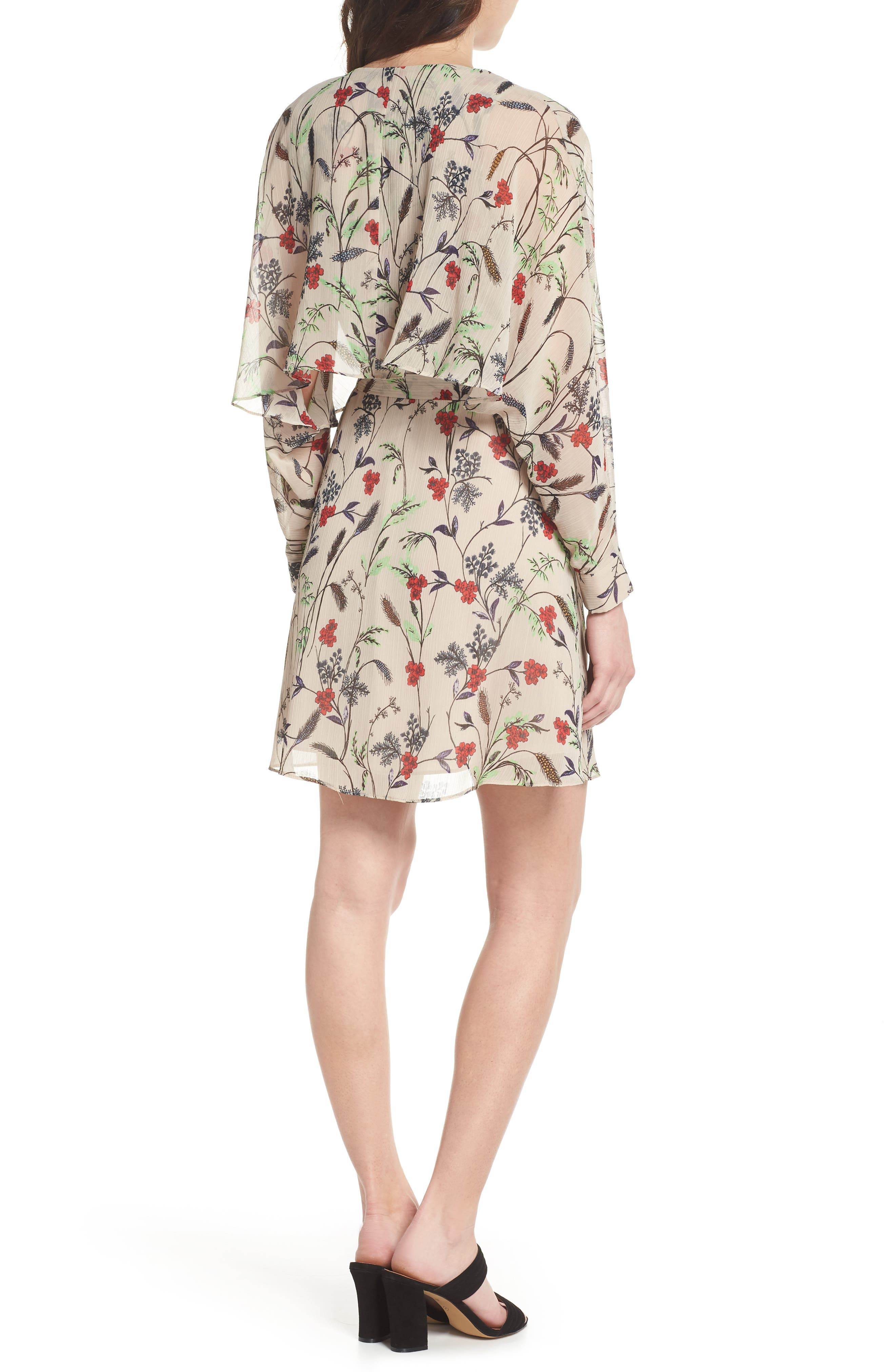 Yoryu Floral Chiffon Dress,                             Alternate thumbnail 2, color,                             Beige/ Red