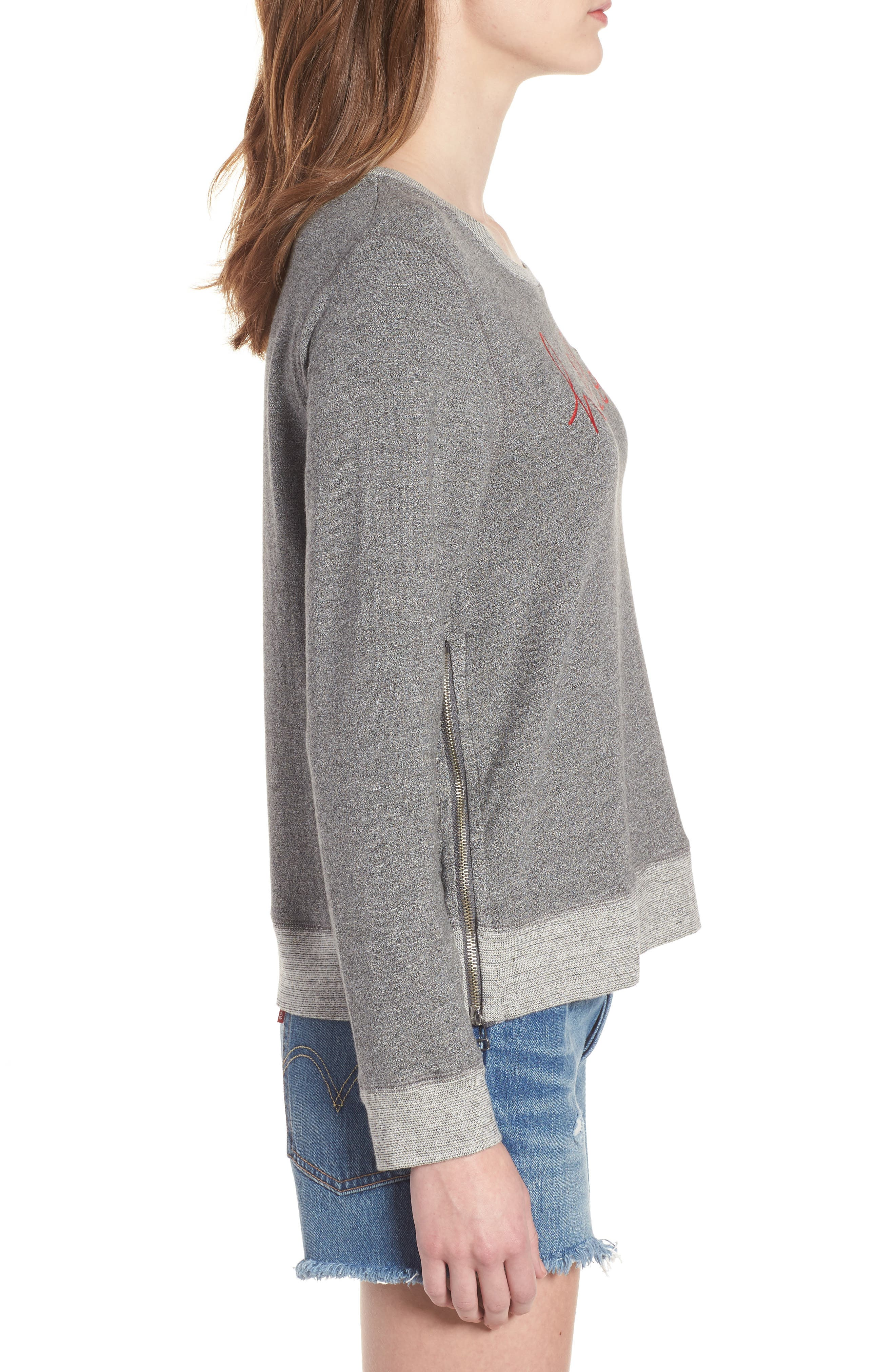 Hello Embroidered Double Zip Pullover,                             Alternate thumbnail 3, color,                             Heather Grey
