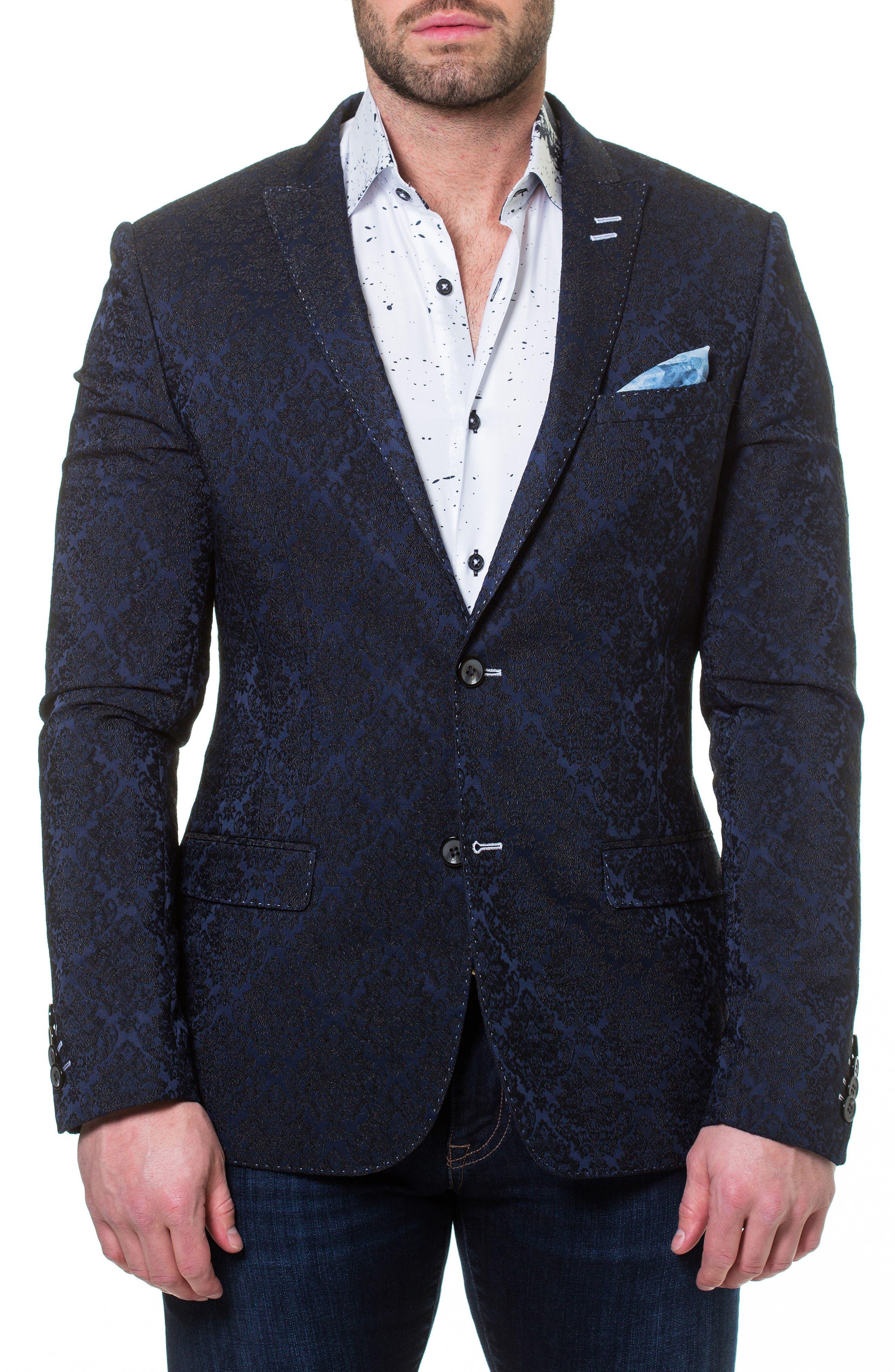 Descartes Jacquard Linen & Cotton Blend Sport Coat,                         Main,                         color, Blue