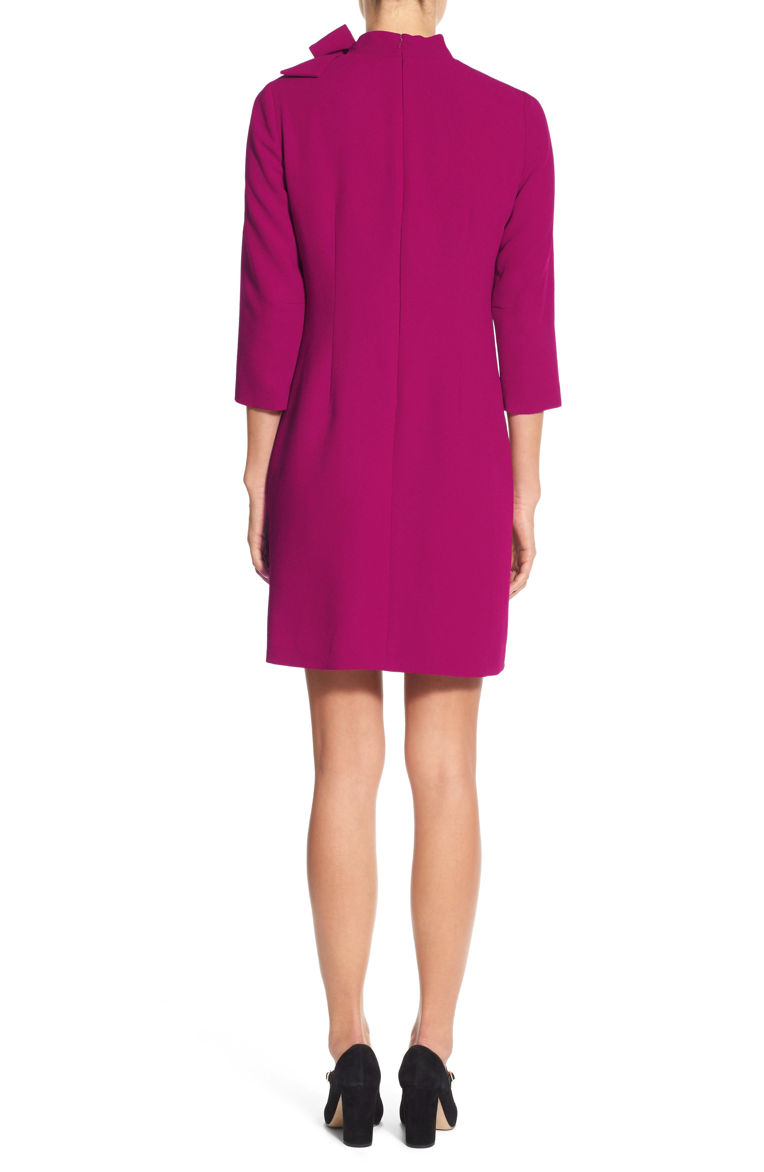 Bow Crepe A-Line Dress,                             Alternate thumbnail 2, color,                             Pink