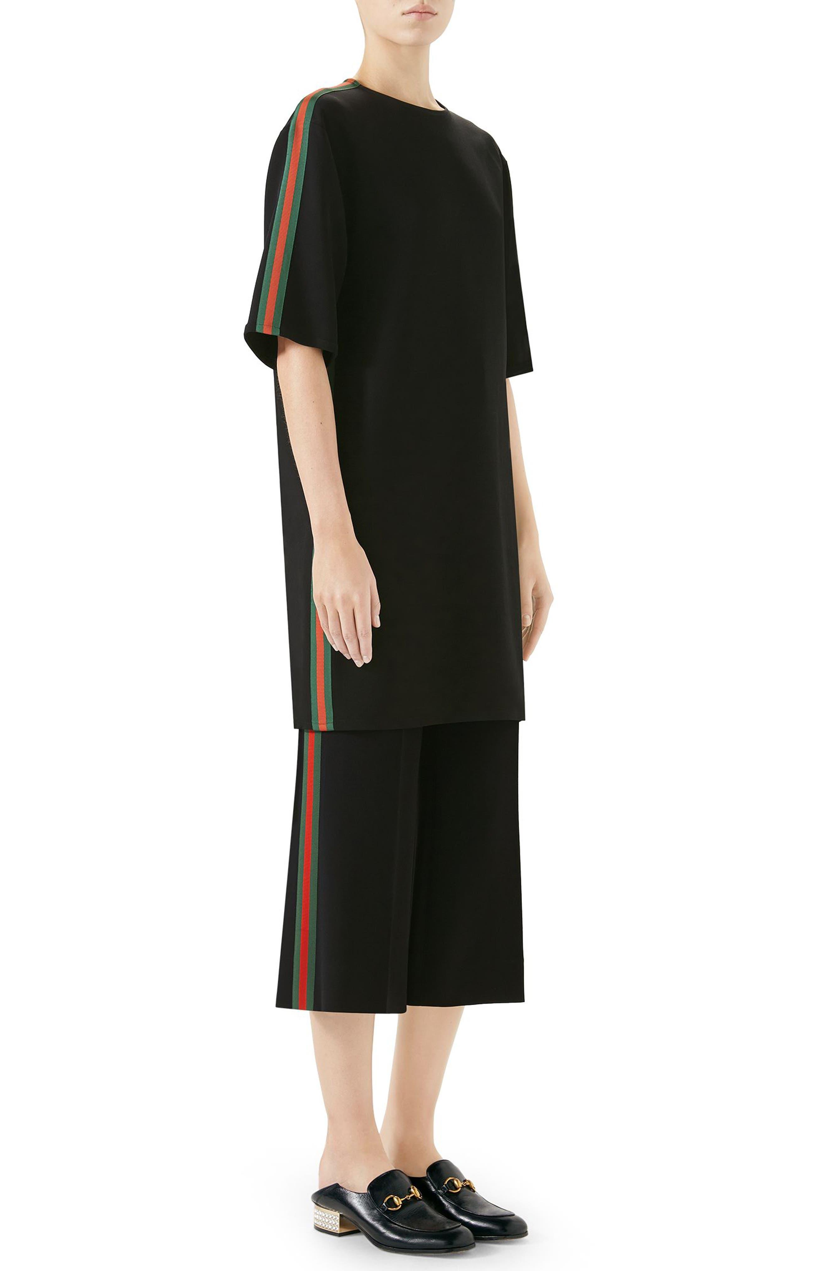 Side Stripe Cady Tunic Dress,                             Alternate thumbnail 3, color,                             Black