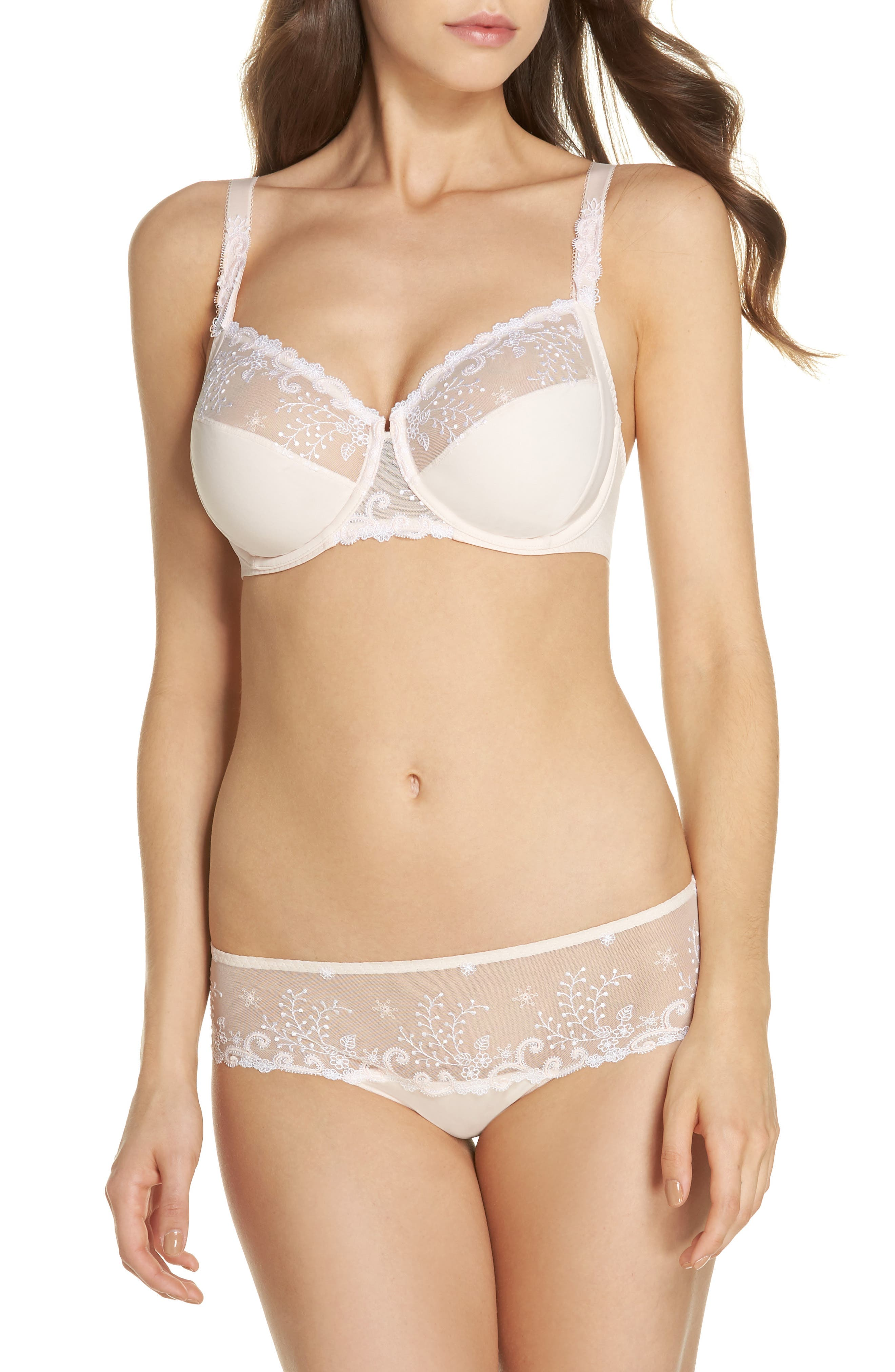 'Delice' Embroidered Underwire Bra,                             Alternate thumbnail 5, color,                             Blush