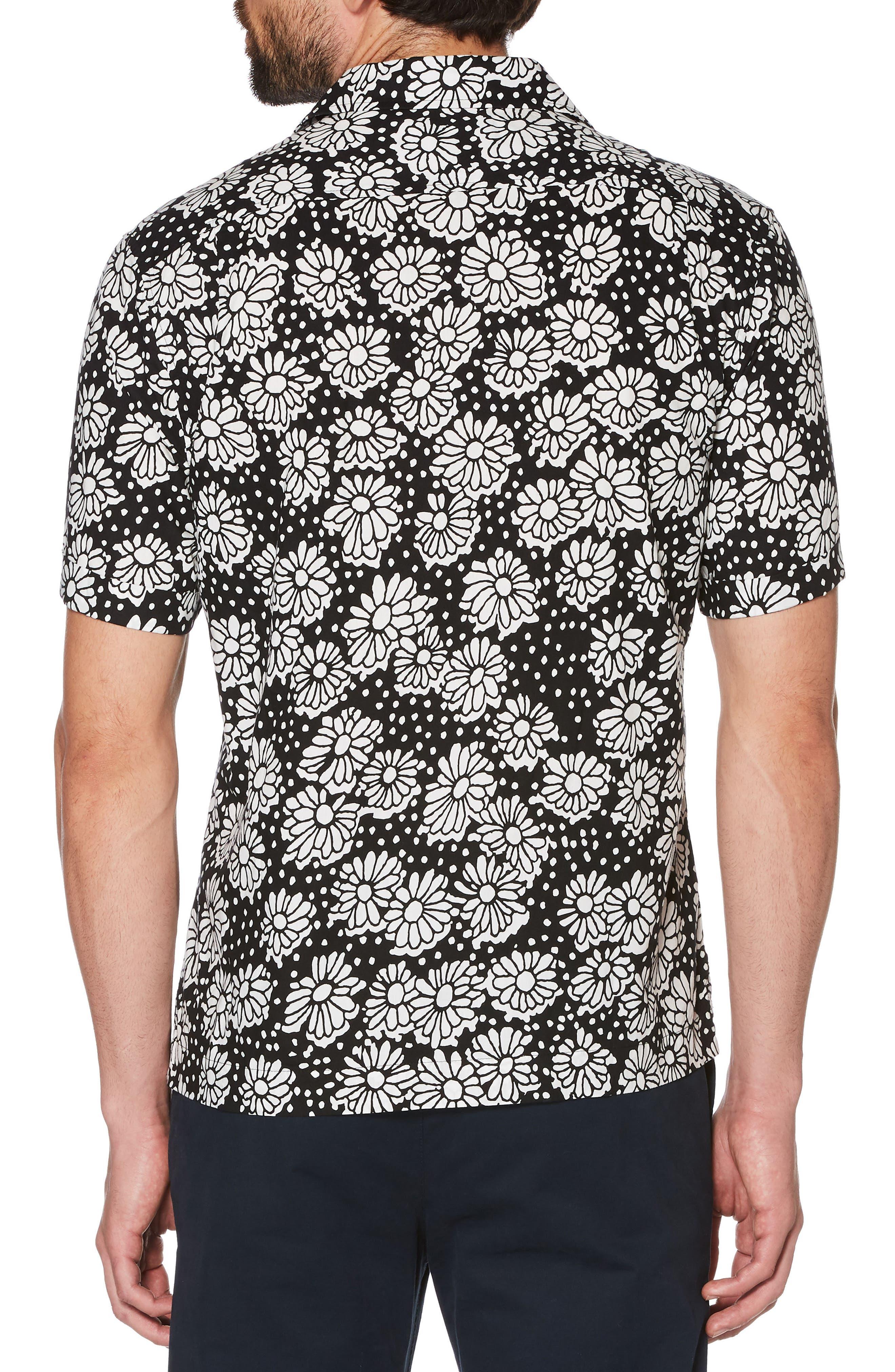Daisy Print Camp Shirt,                             Alternate thumbnail 2, color,                             True Black