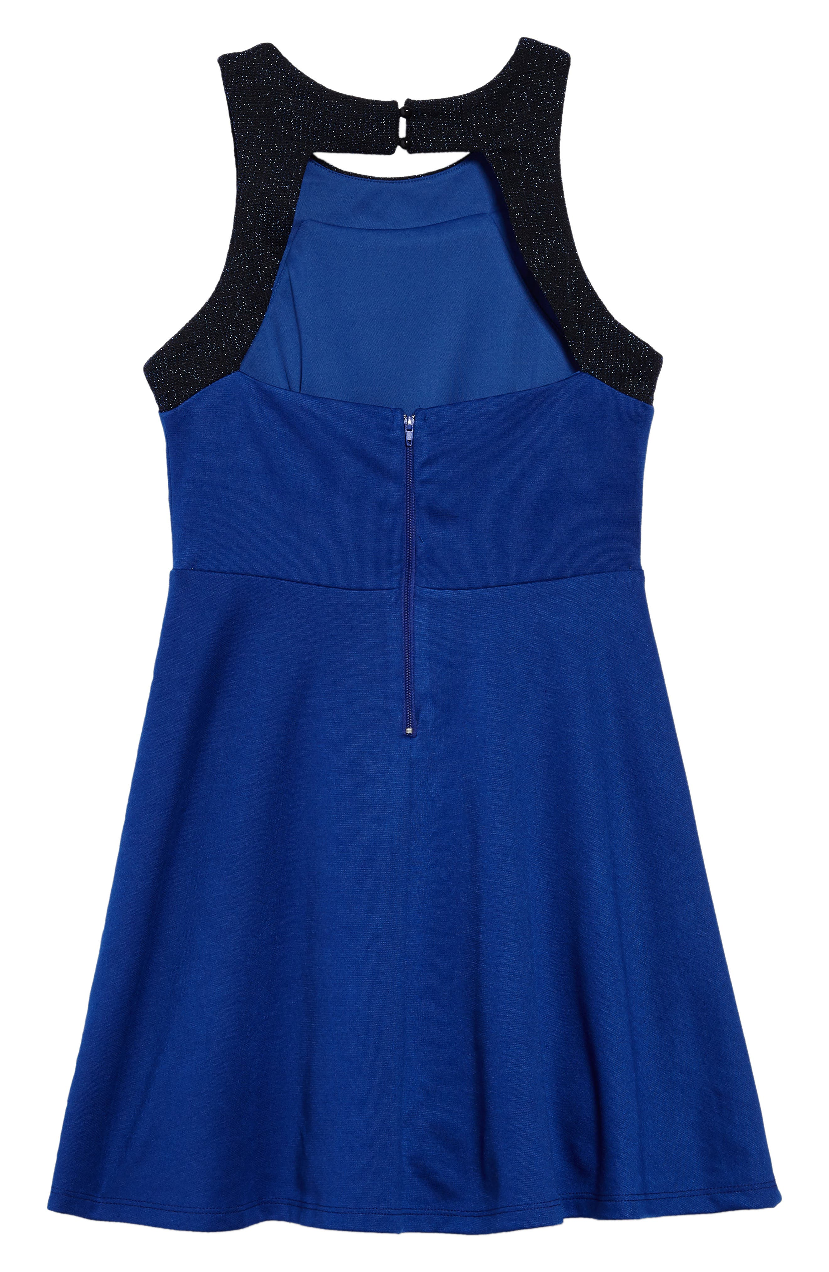 Heather Open Back Dress,                             Alternate thumbnail 2, color,                             Royal