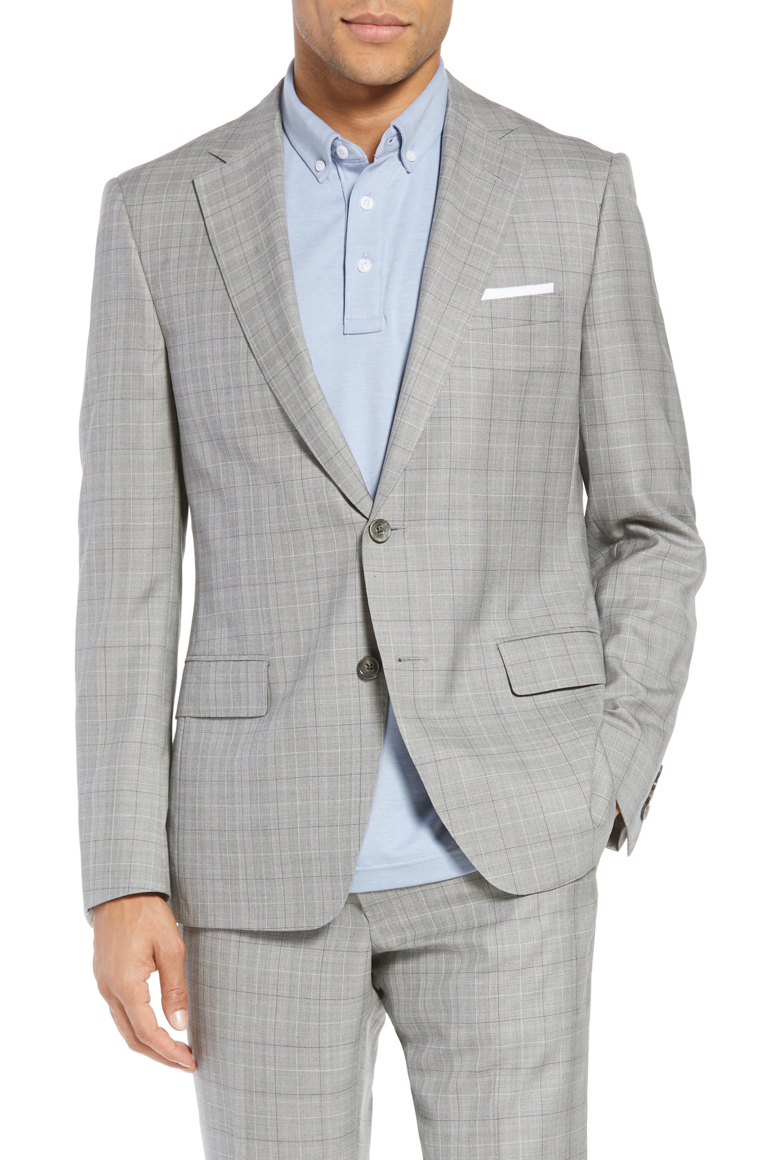 Classic Fit Plaid Wool & Silk Suit,                             Alternate thumbnail 5, color,                             Grey