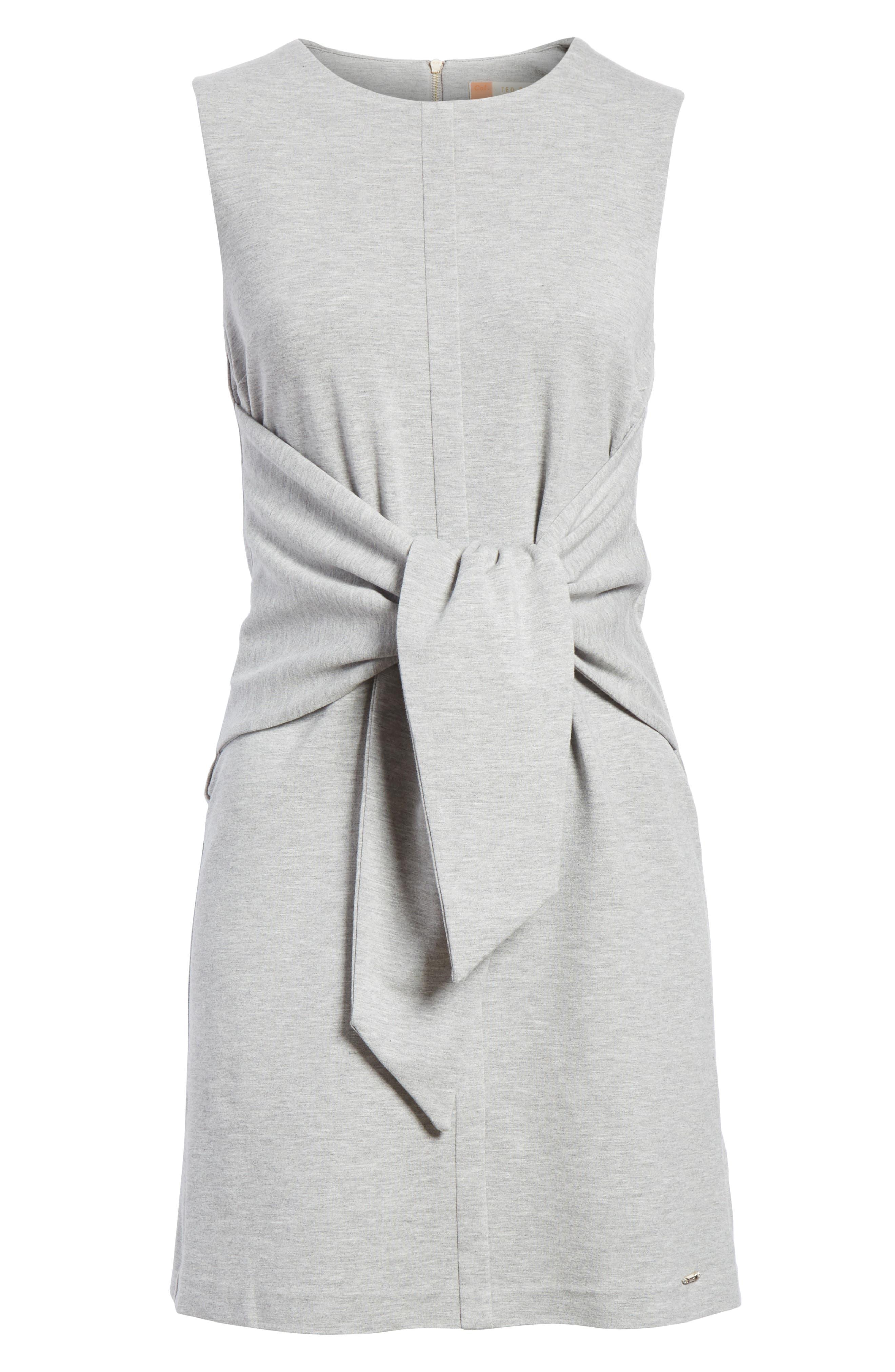 Evalina Tie Front Dress,                             Alternate thumbnail 6, color,                             Grey Marl