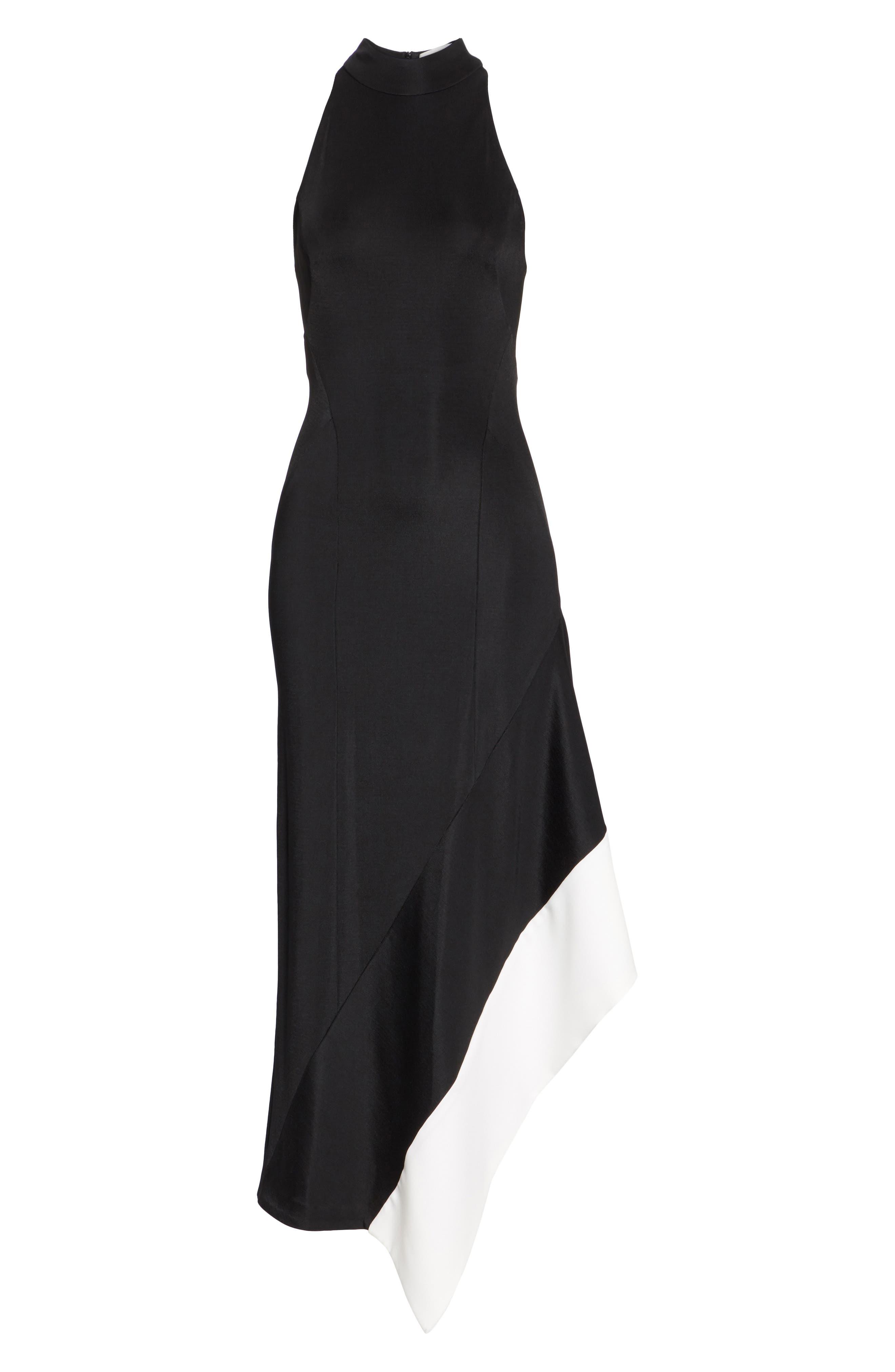 Colorblock Asymmetrical Gown,                             Alternate thumbnail 6, color,                             Black W/ White