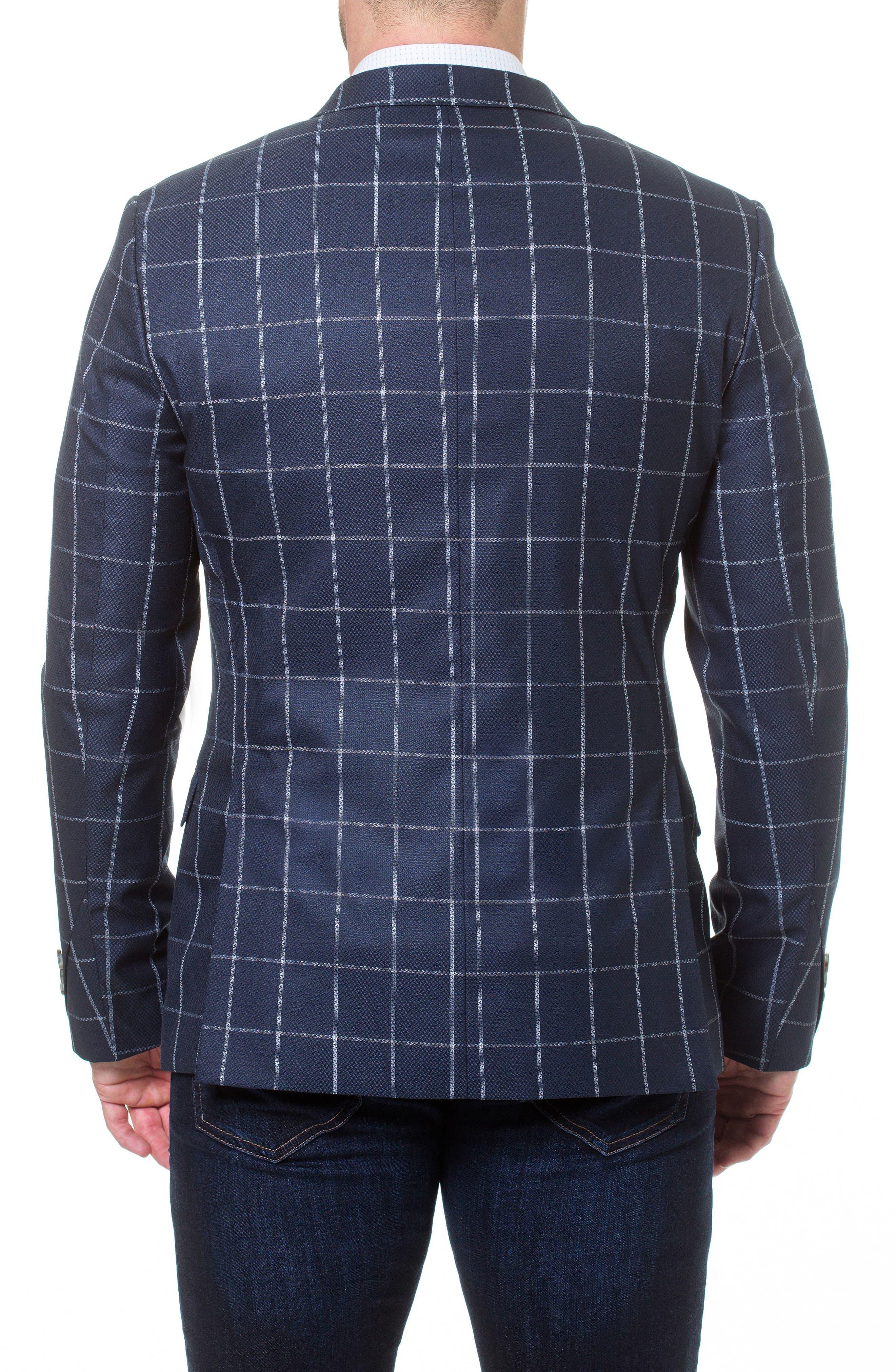 Descartes Check Linen & Cotton Blend Sport Coat,                             Alternate thumbnail 2, color,                             Blue