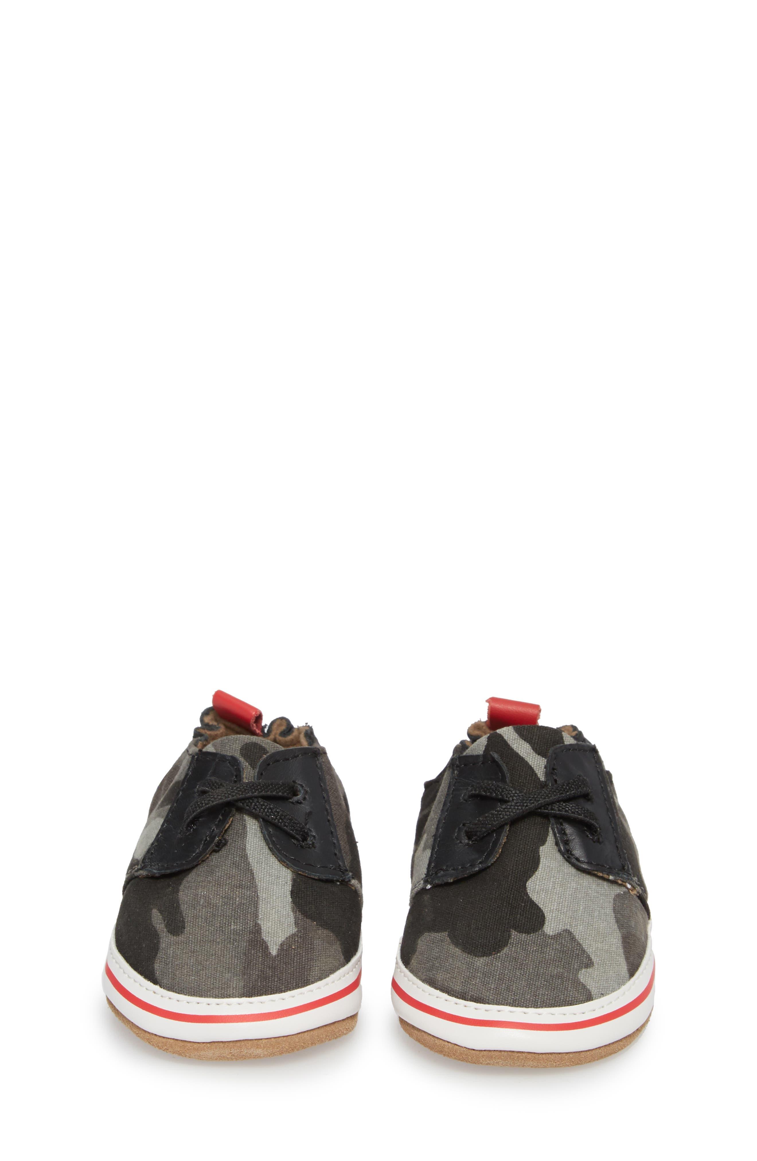 Cool & Casual Camo Print Crib Shoe,                             Alternate thumbnail 4, color,                             Grey