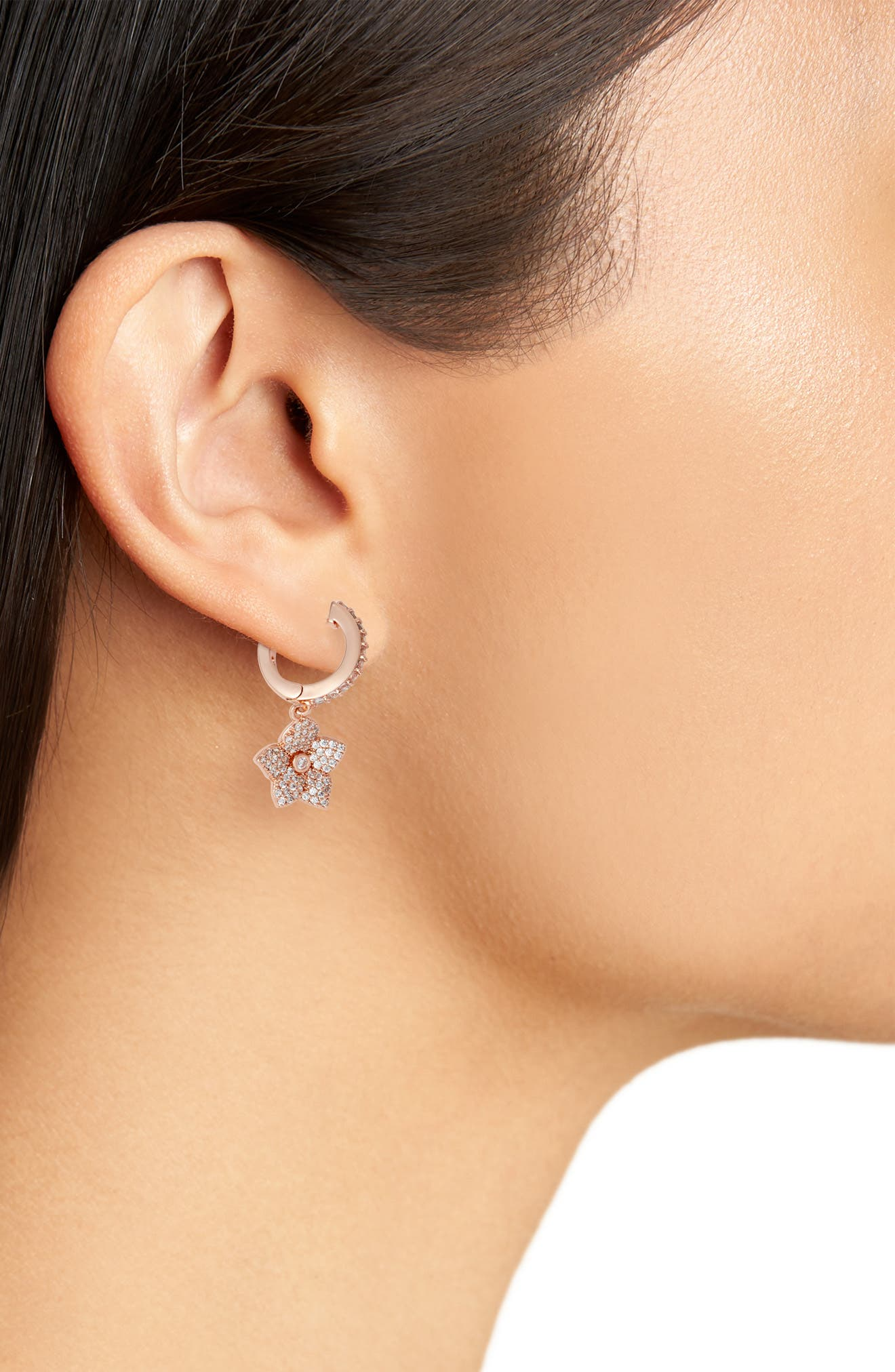 blooming pavé drop earrings,                             Alternate thumbnail 2, color,                             Clear/ Rose Gold
