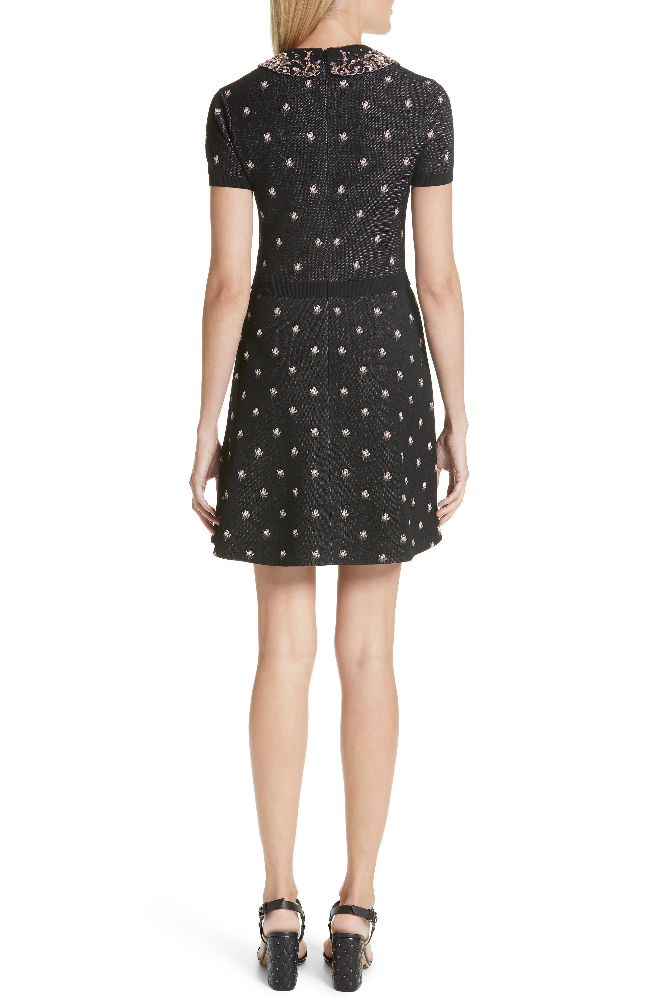 Embellished Collar Floral Jacquard Dress,                             Alternate thumbnail 2, color,                             Black