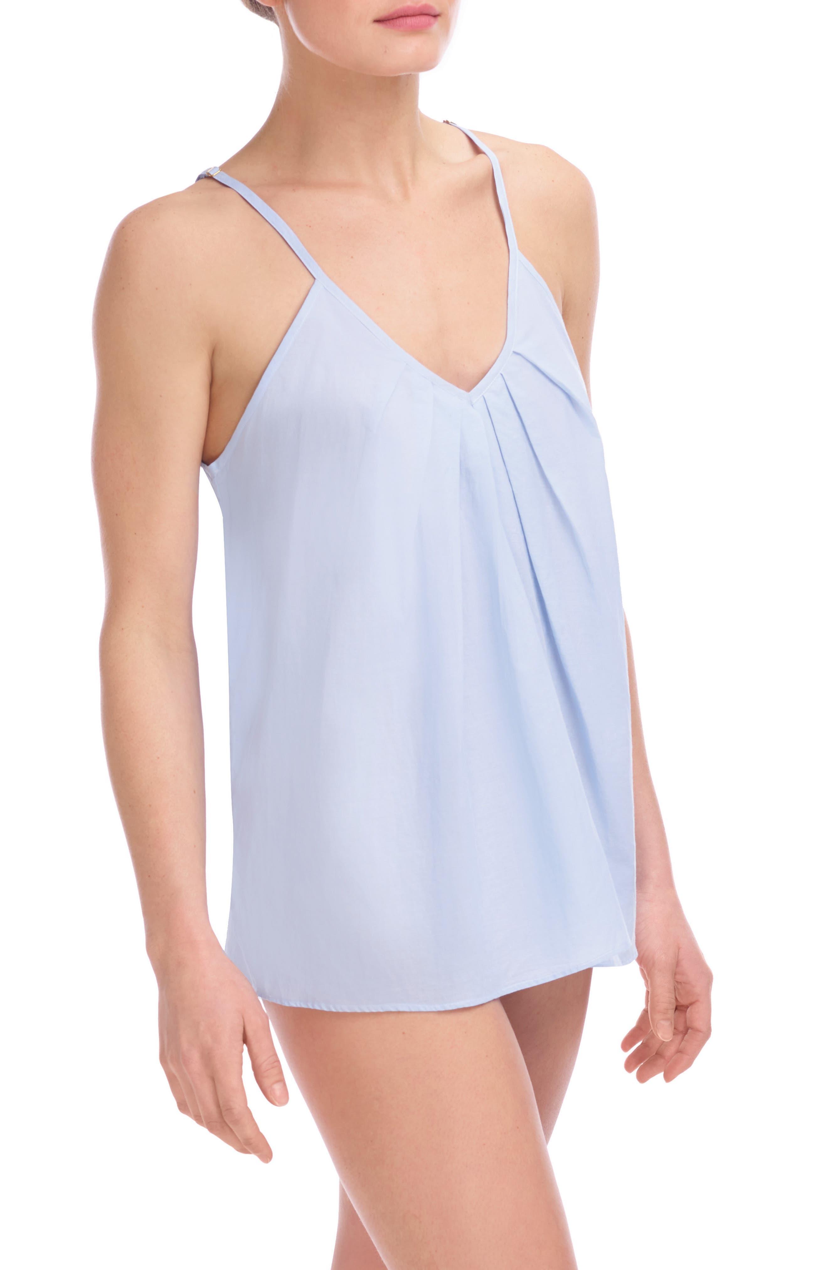 Cotton Voile Pleated Camisole,                             Main thumbnail 1, color,                             Soft Blue