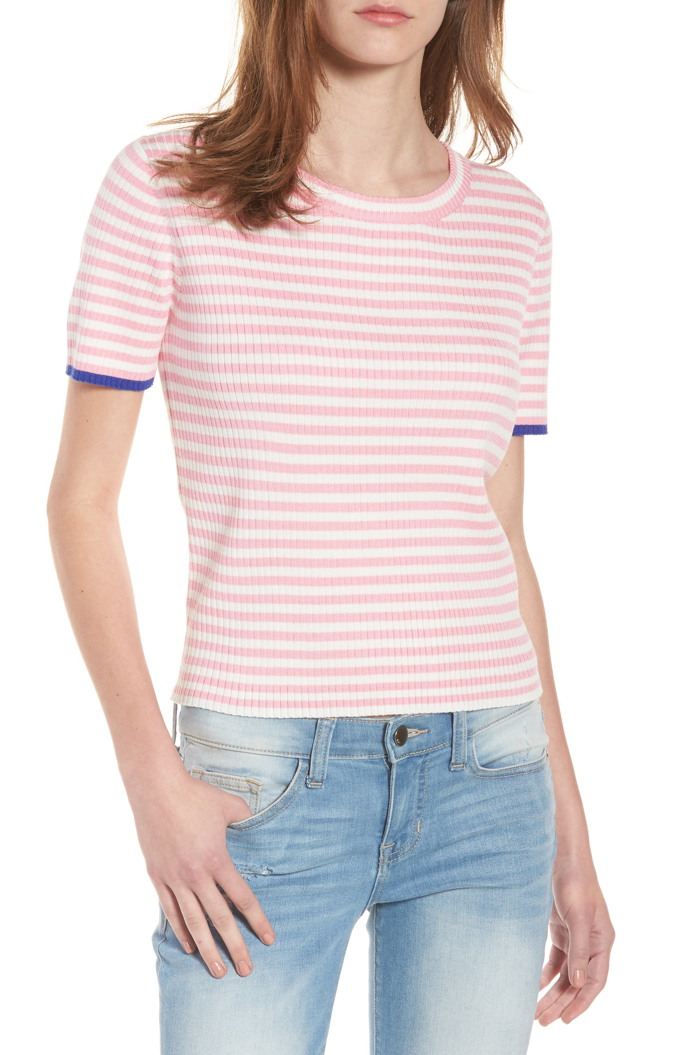 Stripe Knit Pullover,                         Main,                         color, Powder Pink/ Bone
