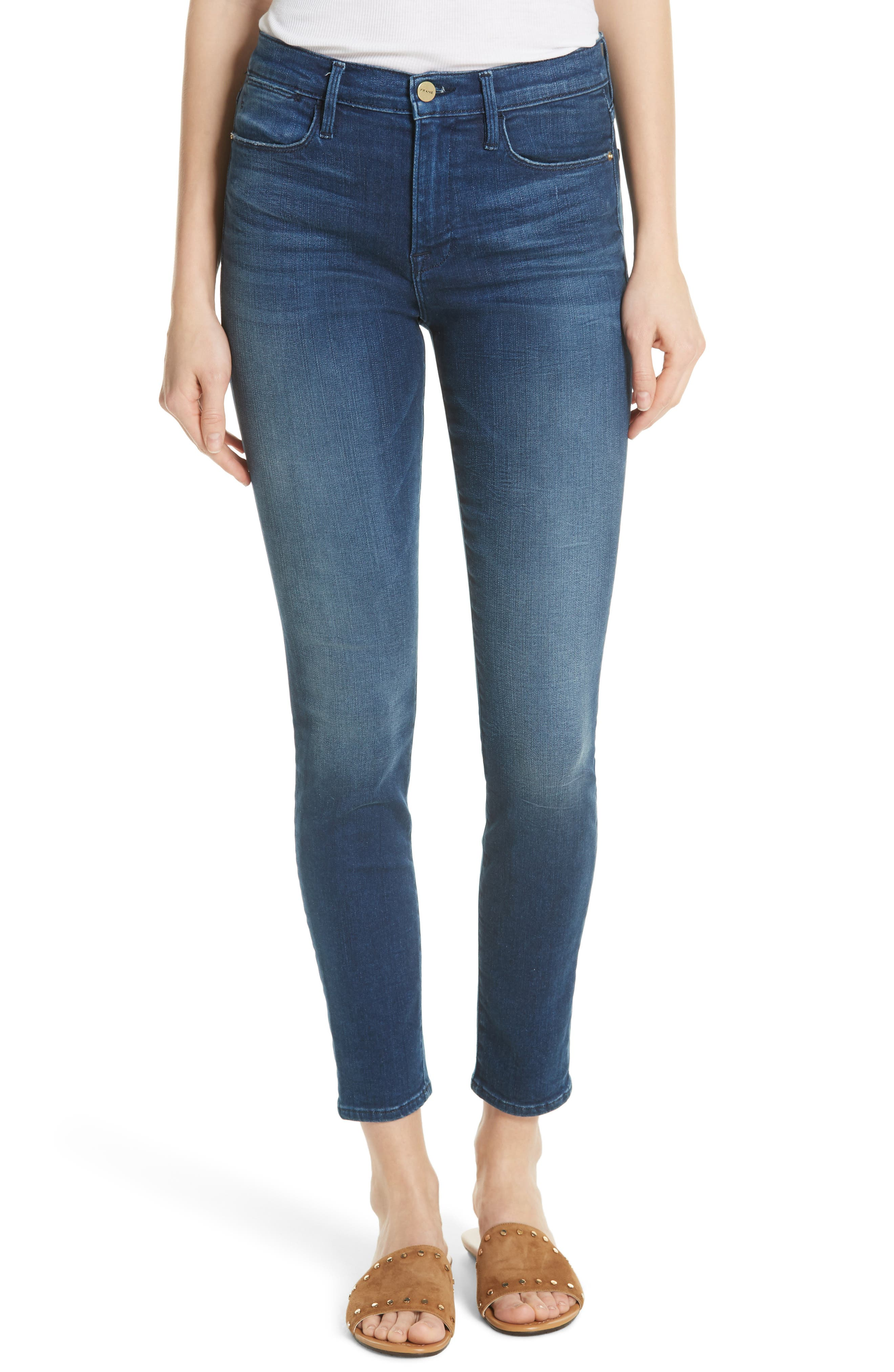 Le High Ankle Skinny Jeans,                         Main,                         color, Silver Spring