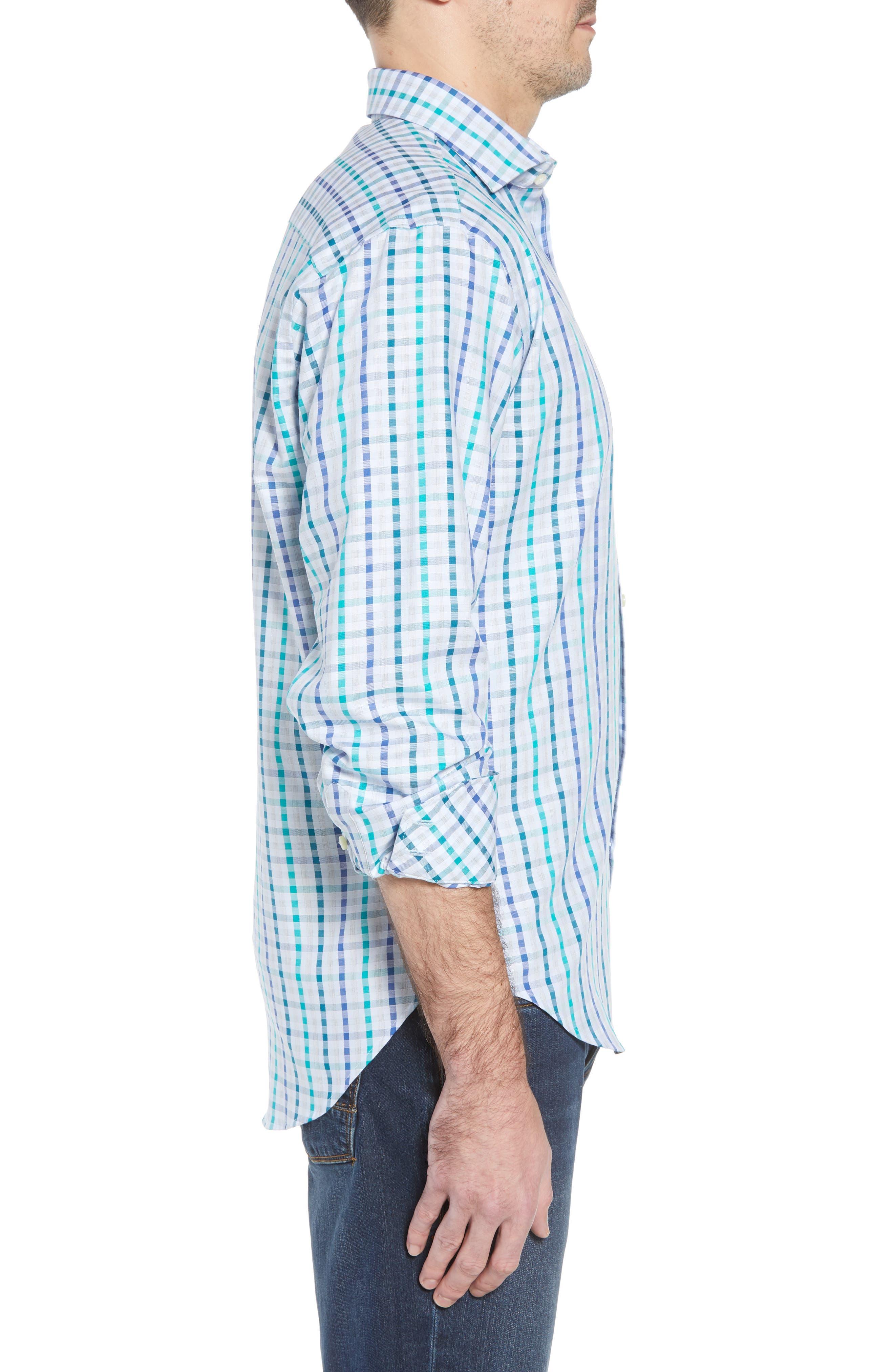 Regular Fit Check Sport Shirt,                             Alternate thumbnail 3, color,                             Green