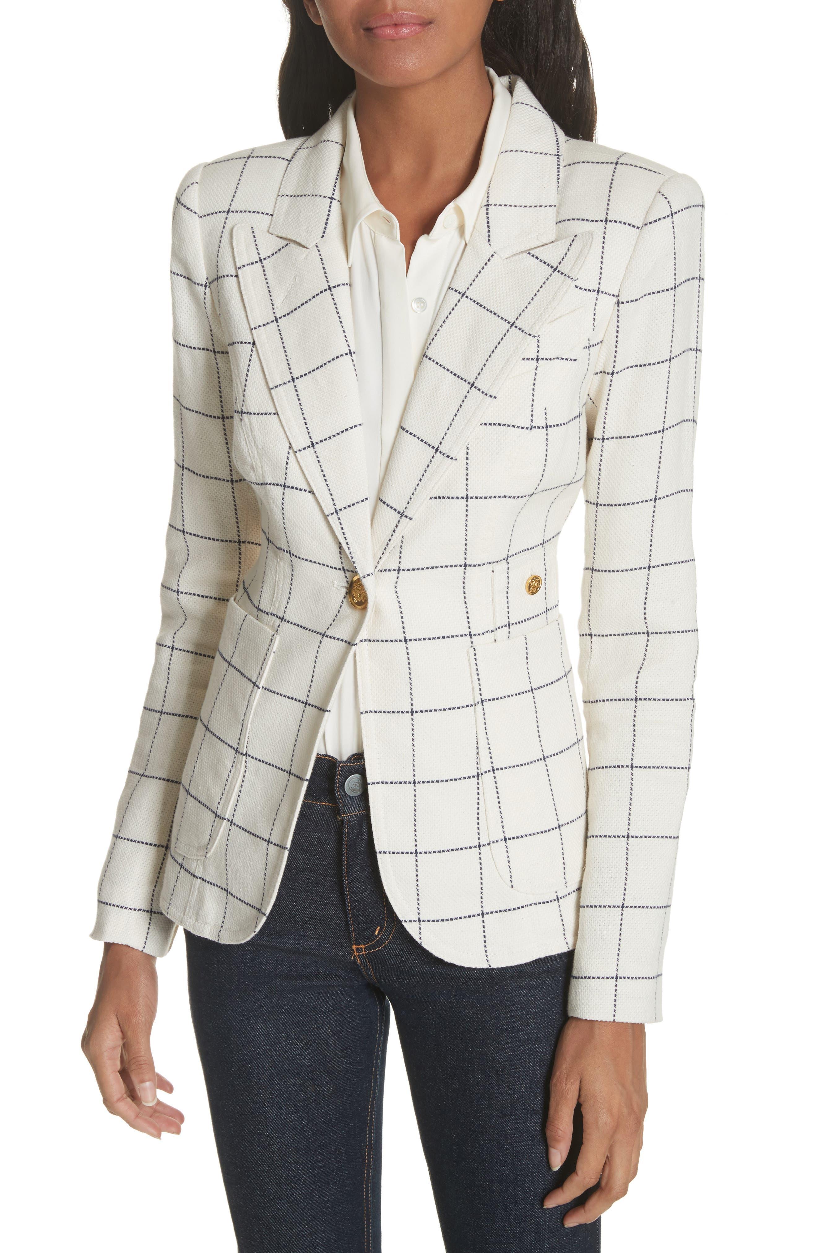 Duchess Elbow Patch Linen Blend Blazer,                         Main,                         color, Gatsby Windowpane