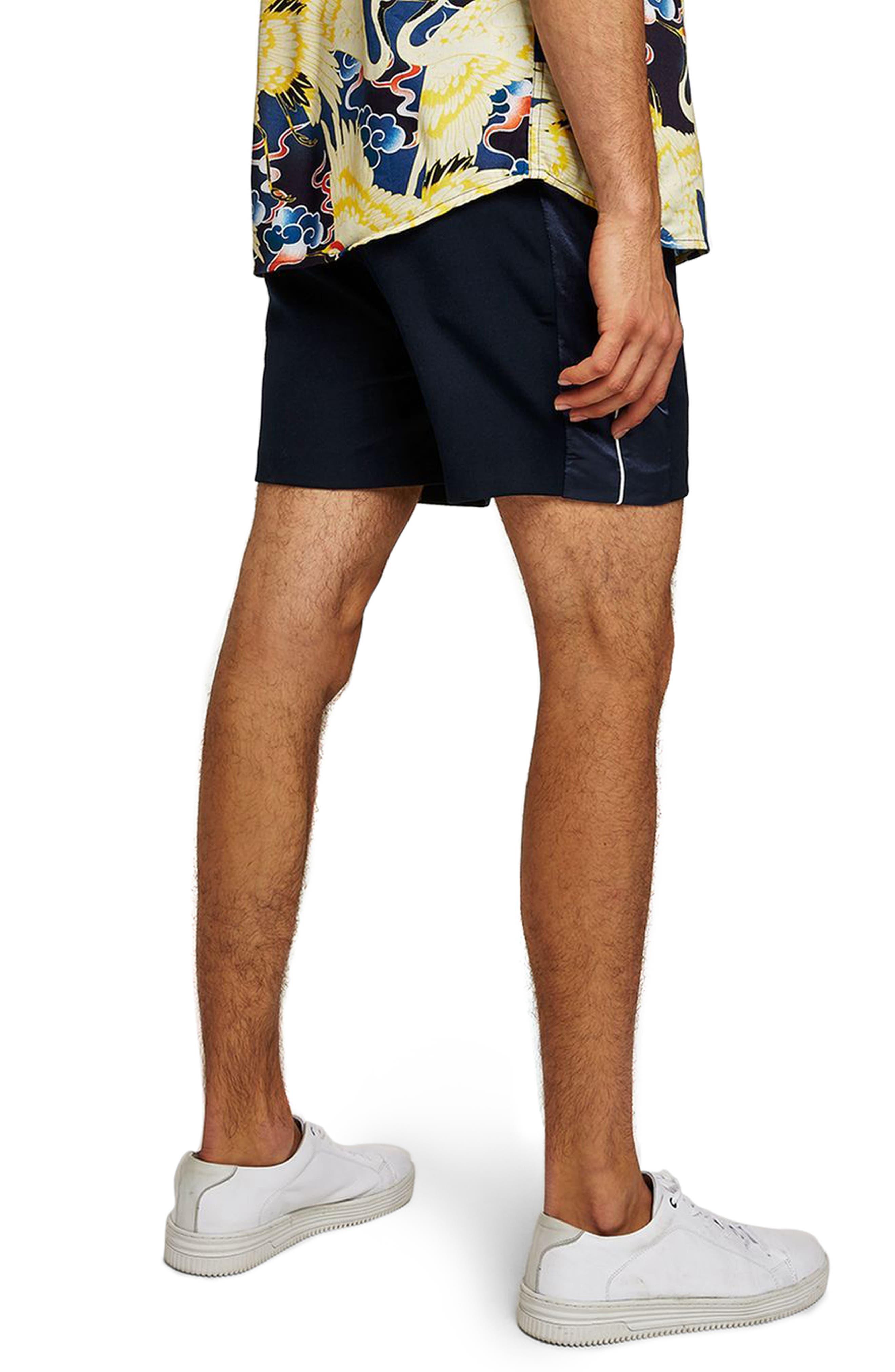 Satin Trim Shorts,                             Alternate thumbnail 2, color,                             Navy Blue