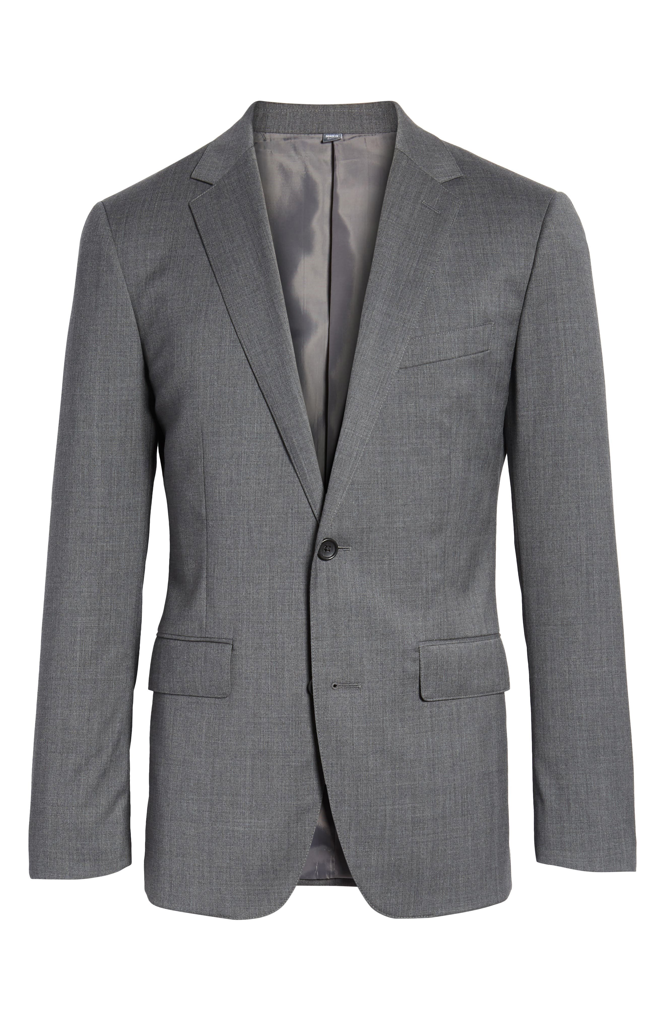 Trim Fit Solid Stretch Wool Sport Coat,                             Alternate thumbnail 6, color,                             Grey