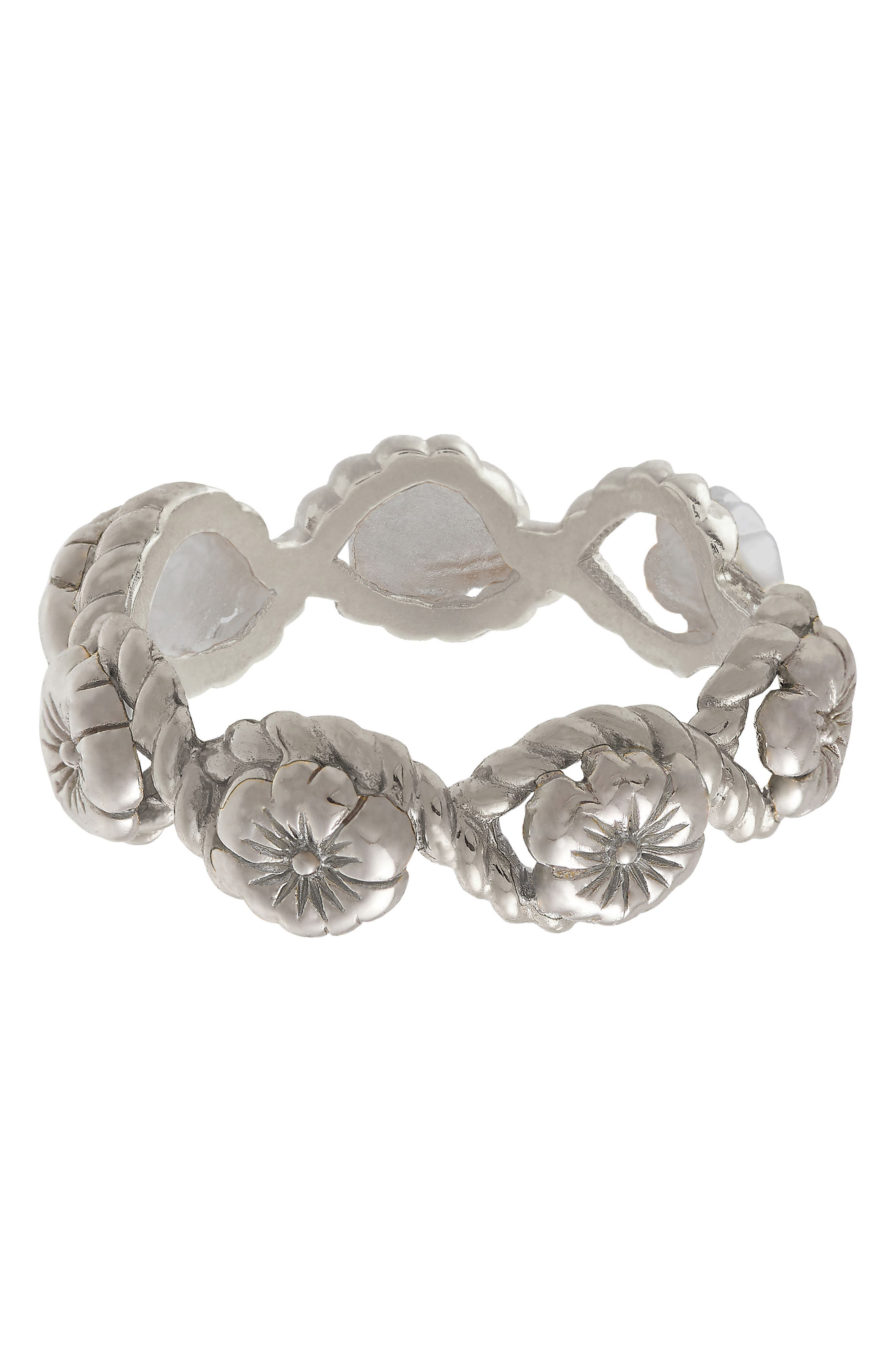 Flower Show Rope Ring, Silver
