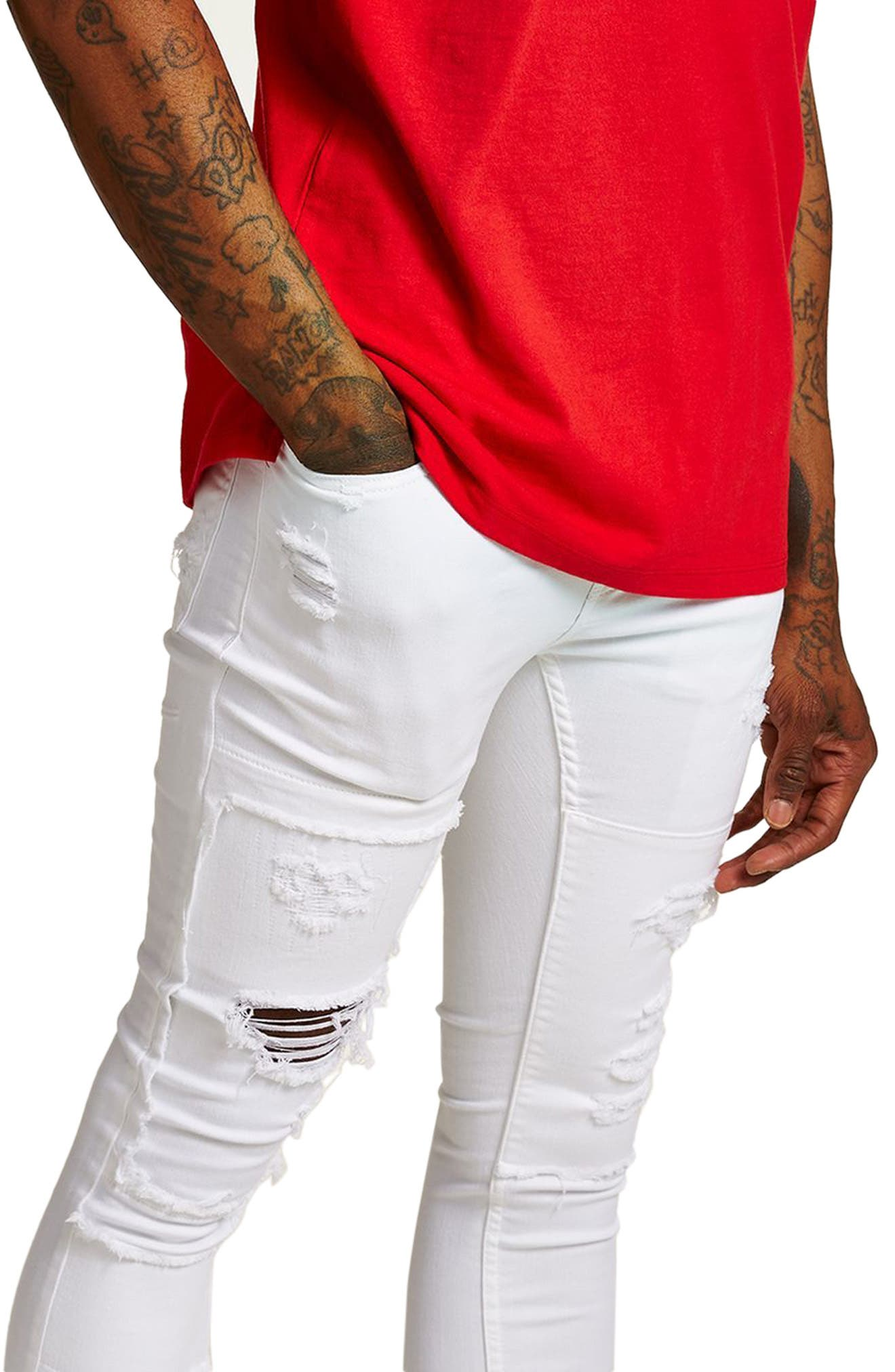 Spray-On Skinny Fit Ripped Jeans,                             Alternate thumbnail 3, color,                             White
