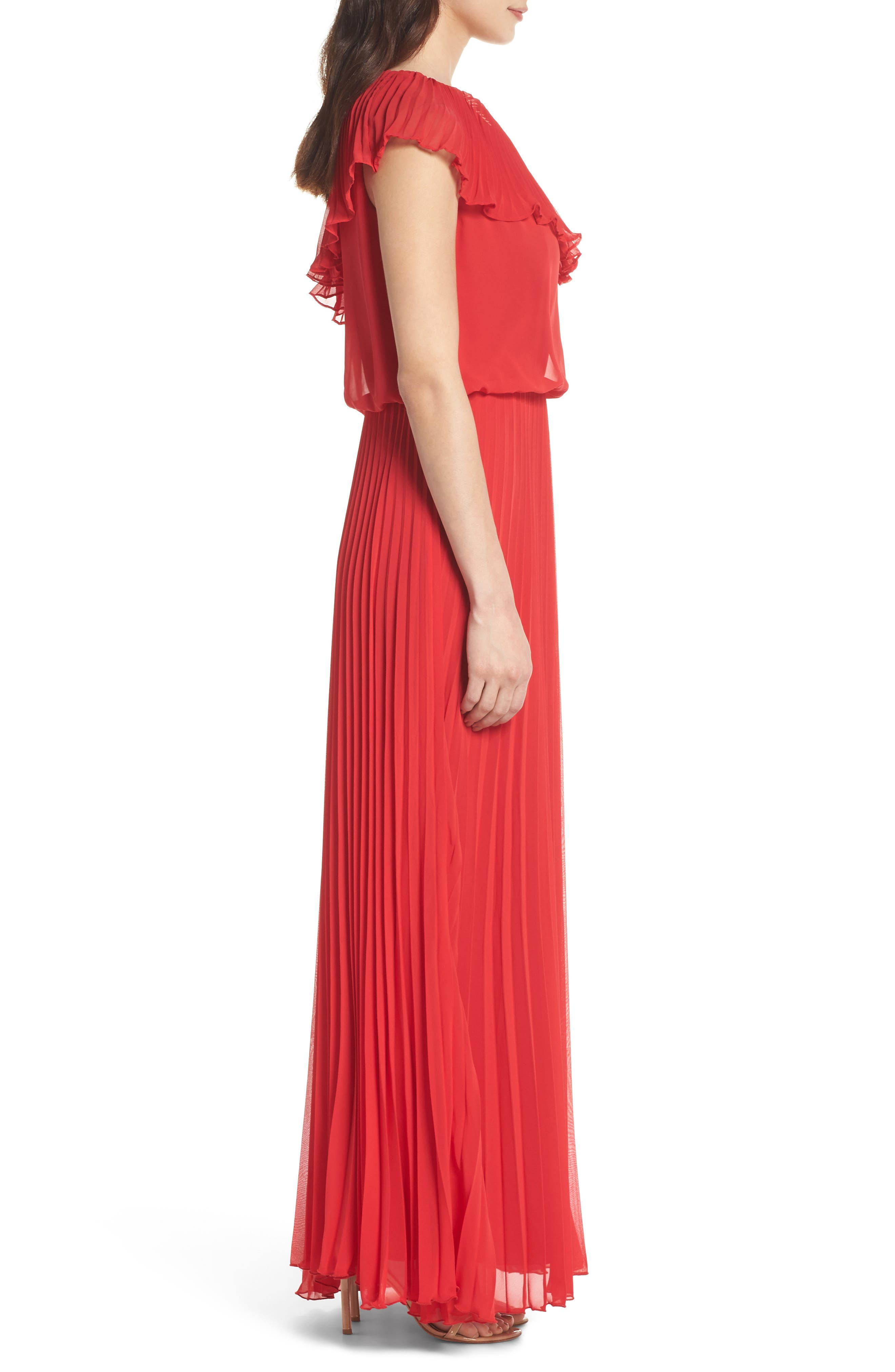 One-Shoulder Pleat Chiffon Gown,                             Alternate thumbnail 3, color,                             Red