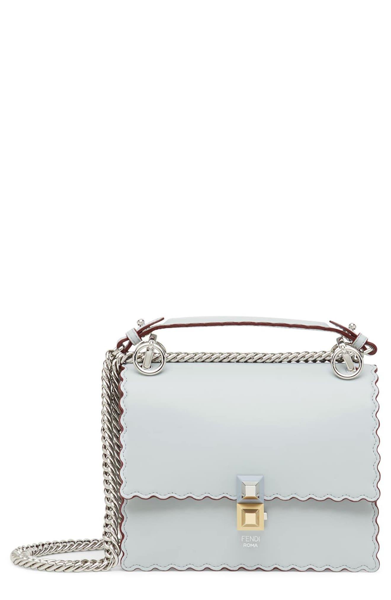 Mini Kan I Scalloped Leather Shoulder Bag,                             Main thumbnail 1, color,                             Grigio Perla/ Palladio